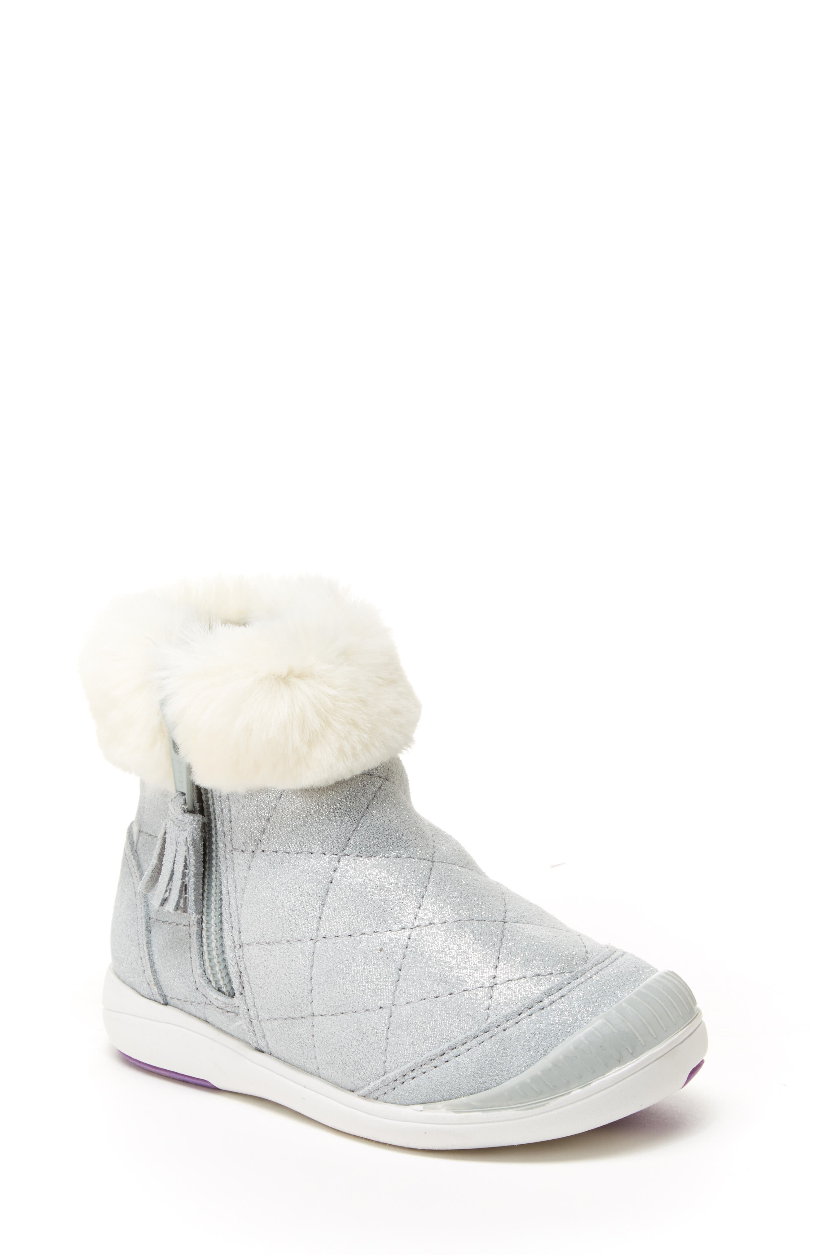 Chloe Faux Fur Quilted Bootie,                             Main thumbnail 1, color,                             SILVER