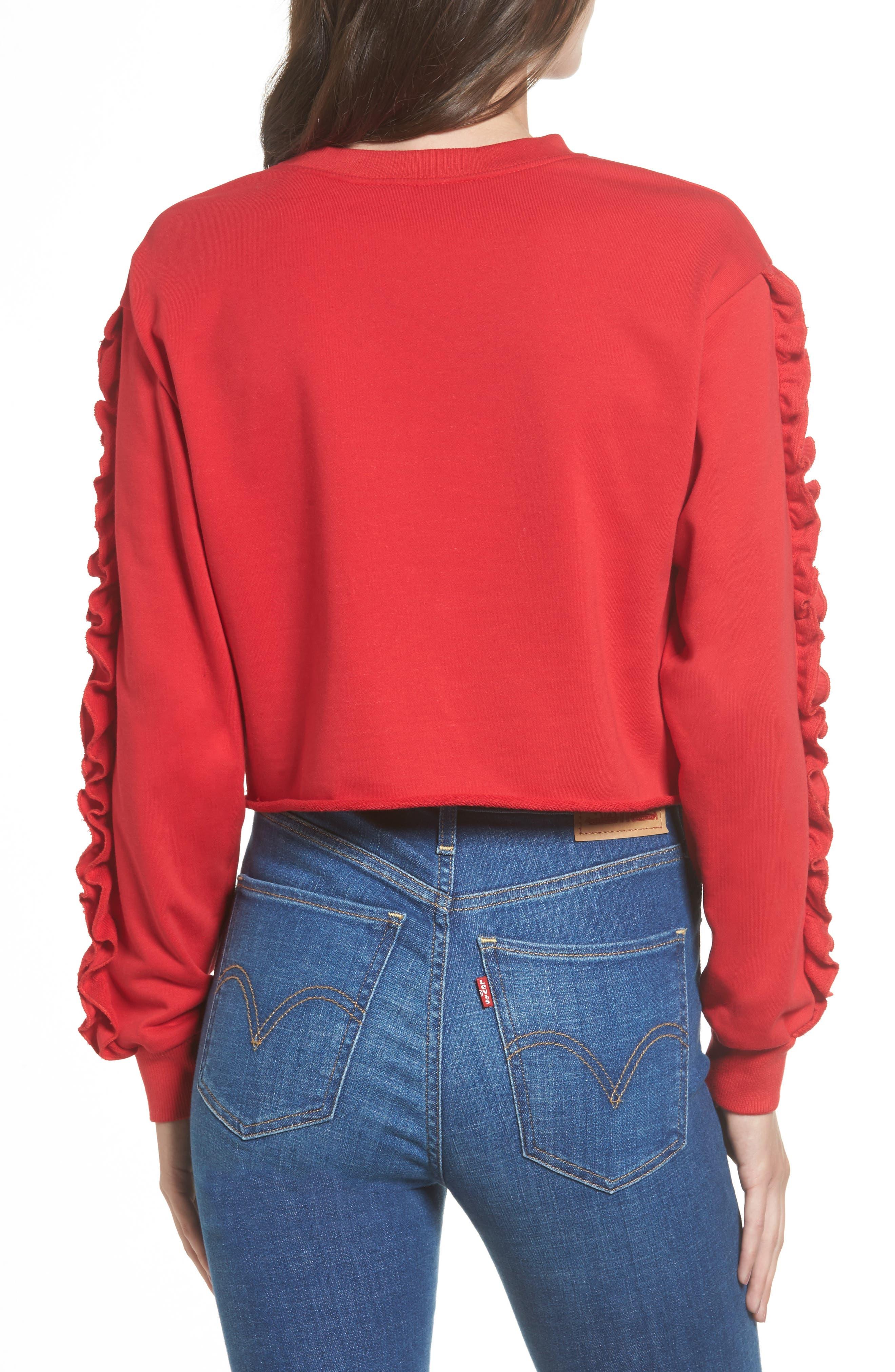 Ruffle Trim Sweatshirt,                             Alternate thumbnail 2, color,                             600