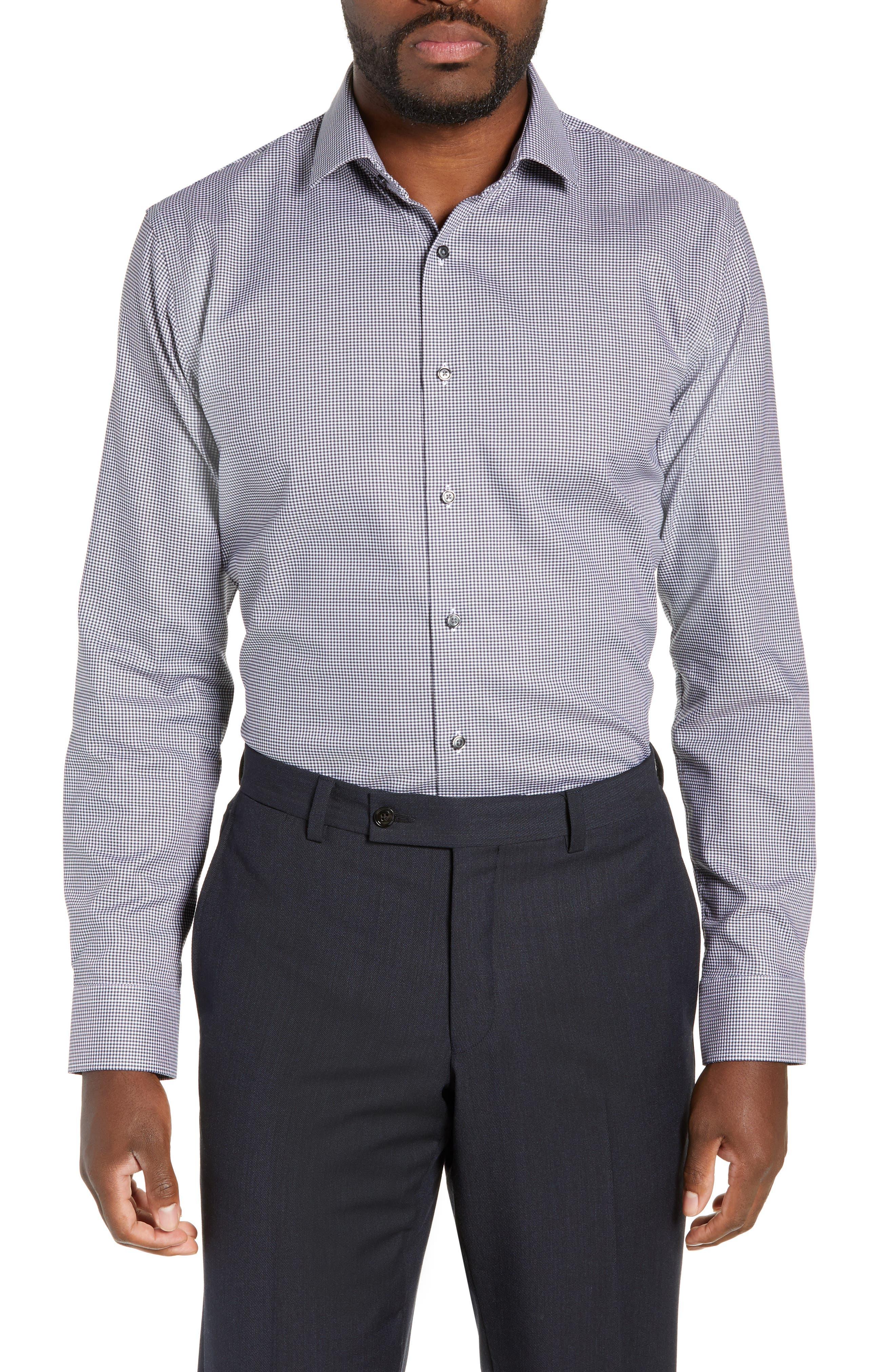 Trim Fit No-Iron Solid Dress Shirt,                             Main thumbnail 1, color,                             NAVY CHARCOAL