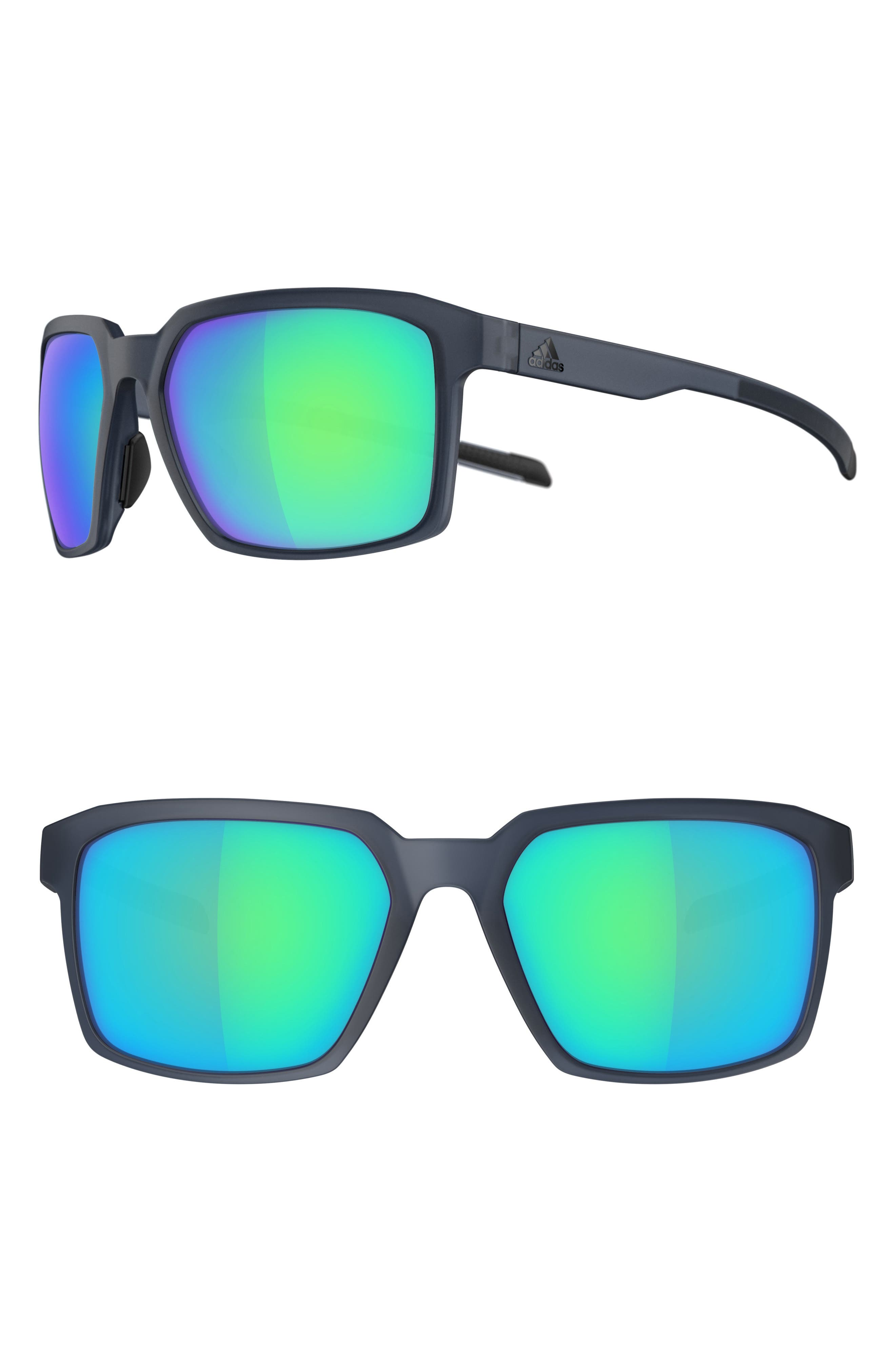 Evolver 60mm Mirrored Sunglasses,                         Main,                         color, MATTE RAW STEEL/ BLUE
