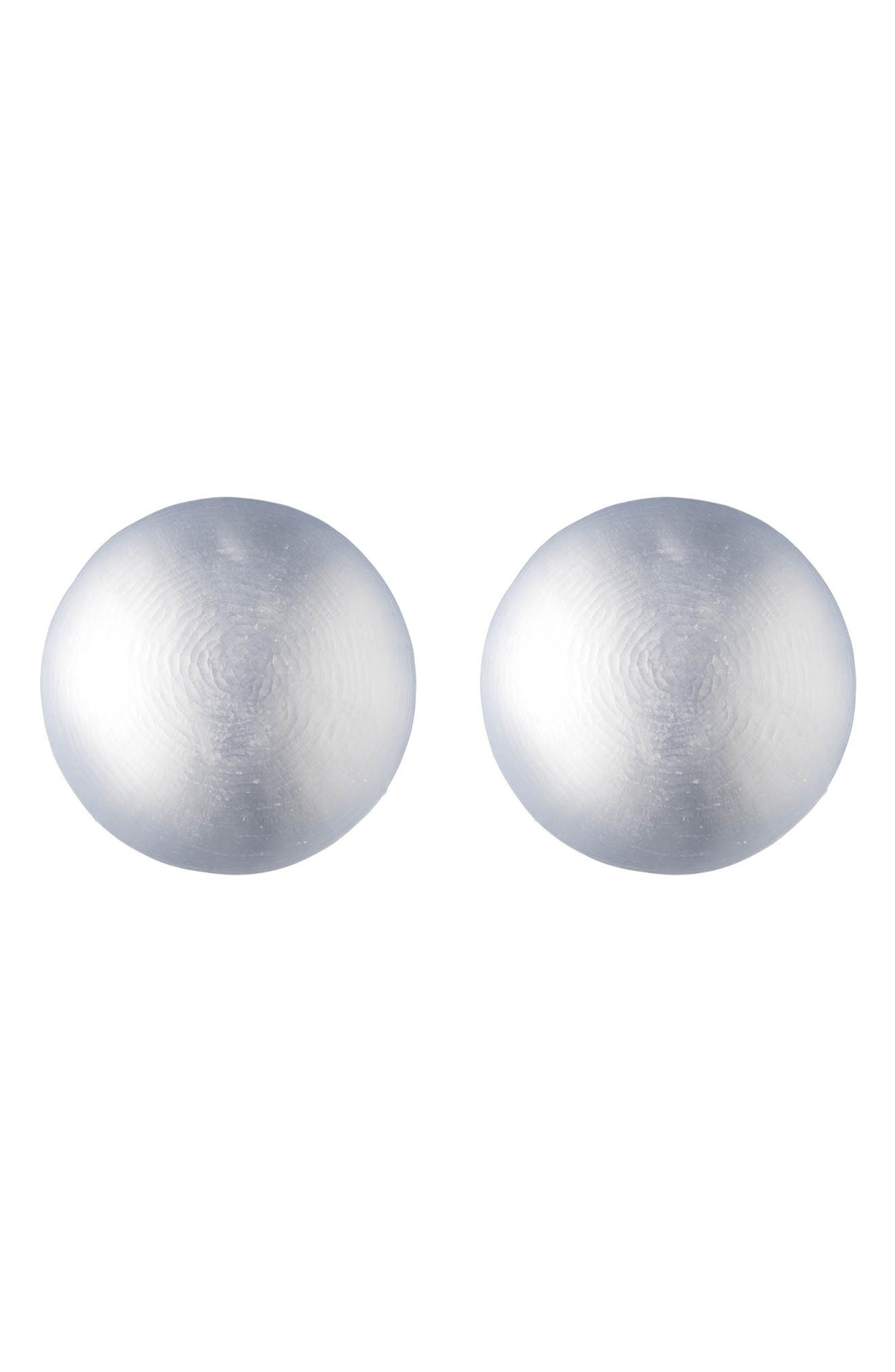Lucite<sup>®</sup> Medium Dome Clip Earrings,                         Main,                         color, STEEL BLUE