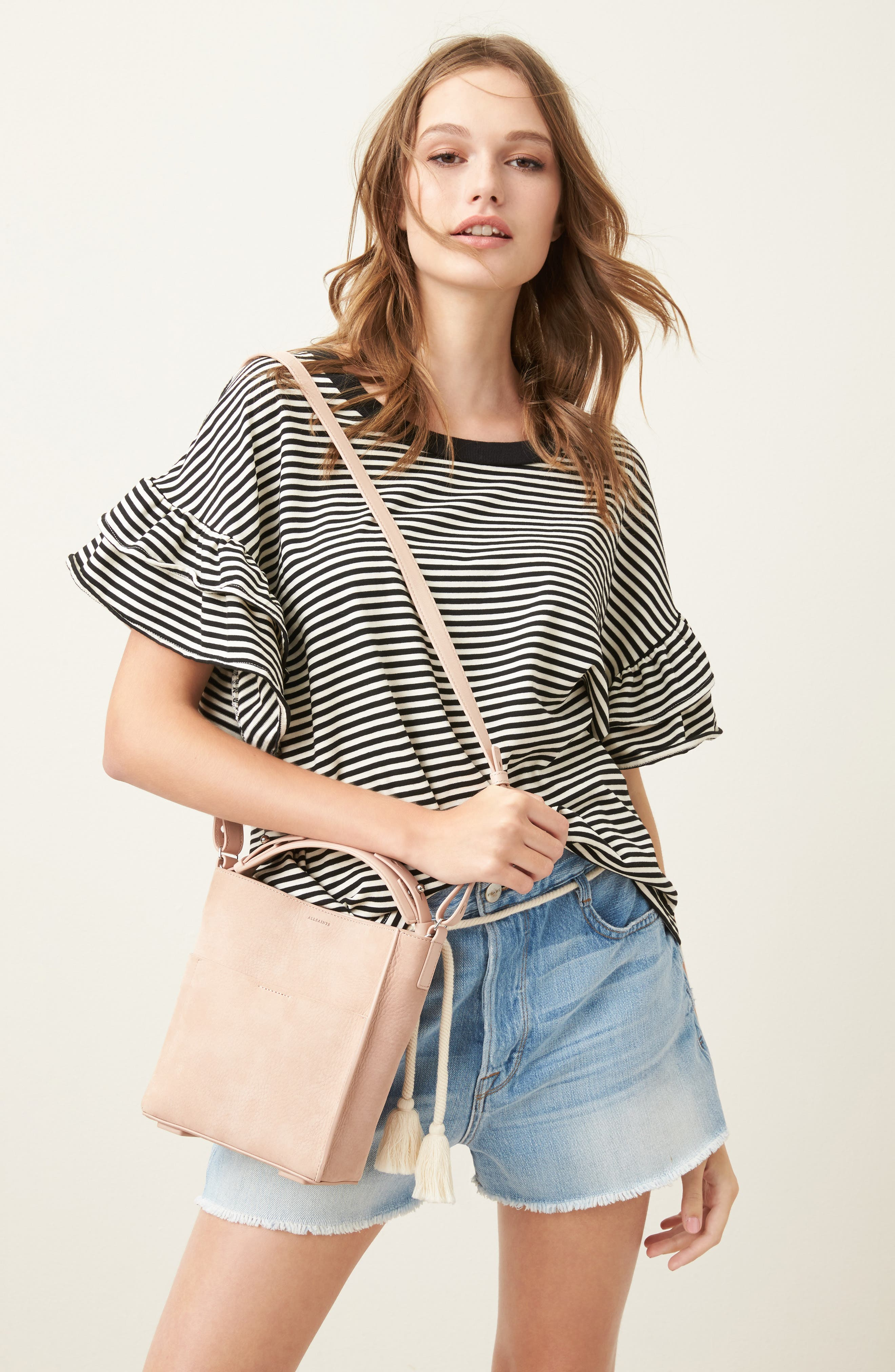 Mini Mast Leather North/South Tote,                             Alternate thumbnail 10, color,                             NUDE PINK