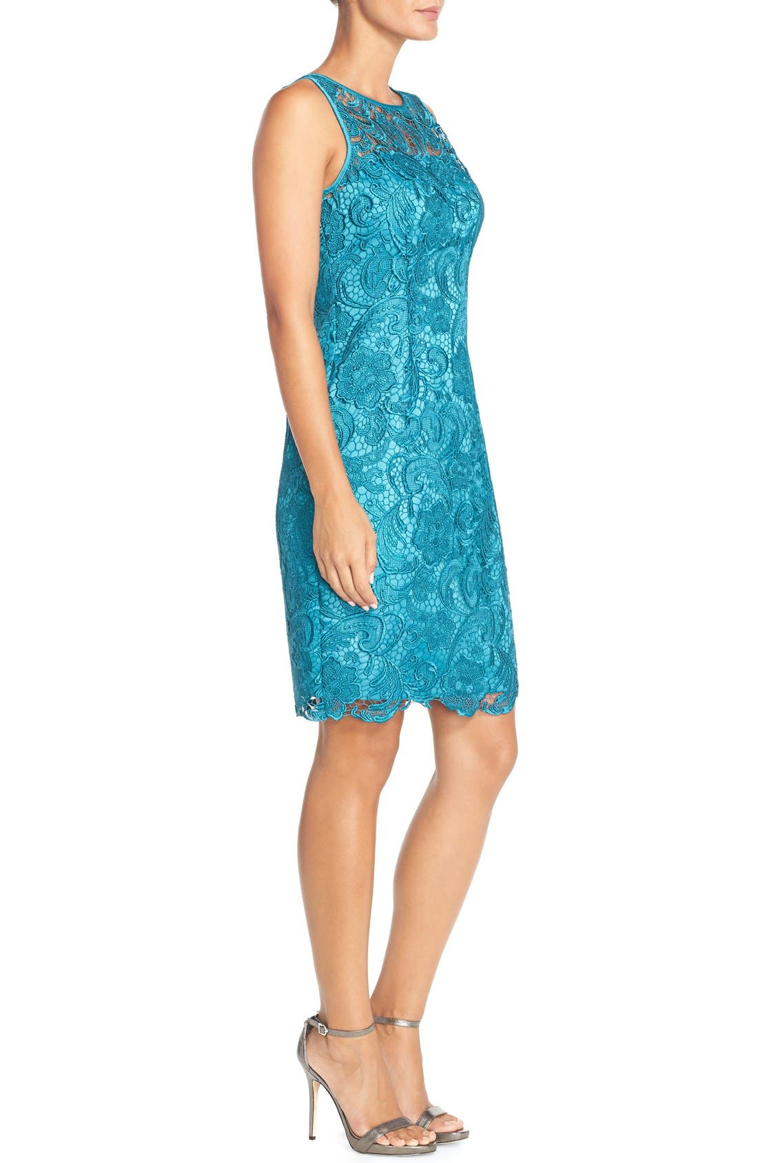 Illusion Bodice Lace Sheath Dress,                             Alternate thumbnail 17, color,