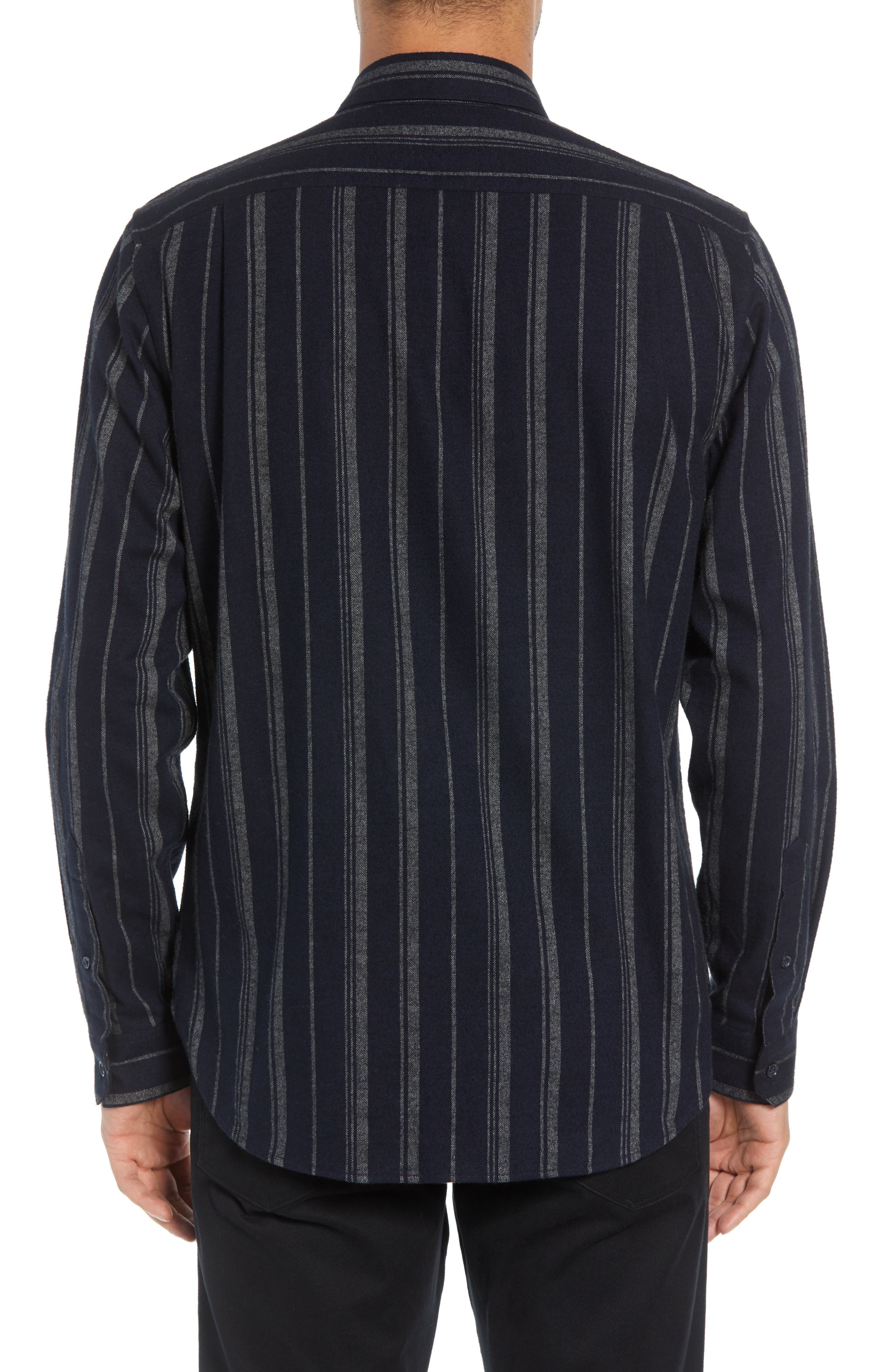 Stripe Flannel Shirt,                             Alternate thumbnail 3, color,                             COASTAL