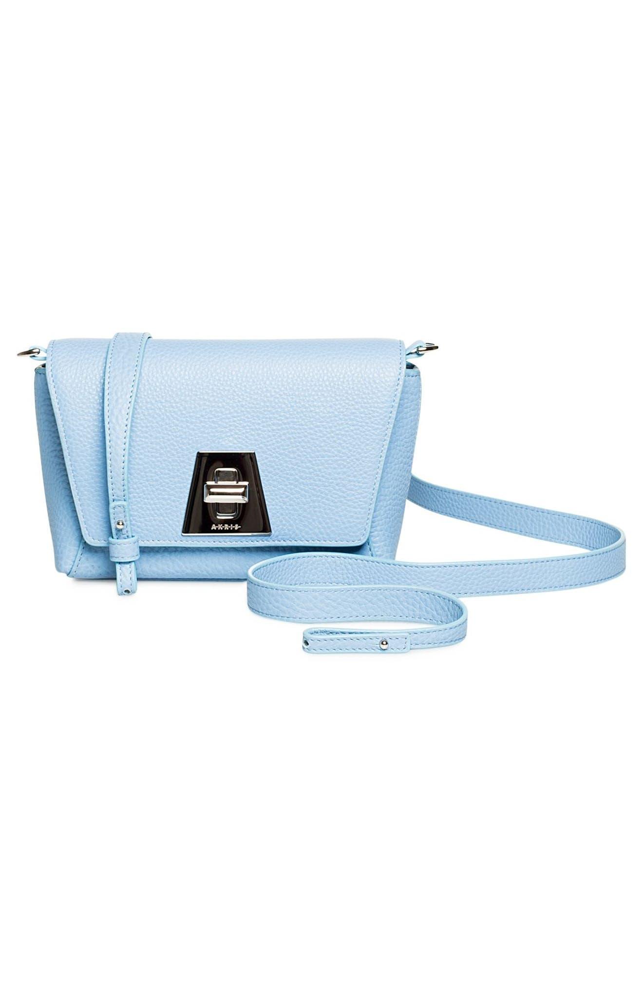 Little Anouk Calfskin Crossbody Bag,                             Alternate thumbnail 3, color,                             POWDER BLUE