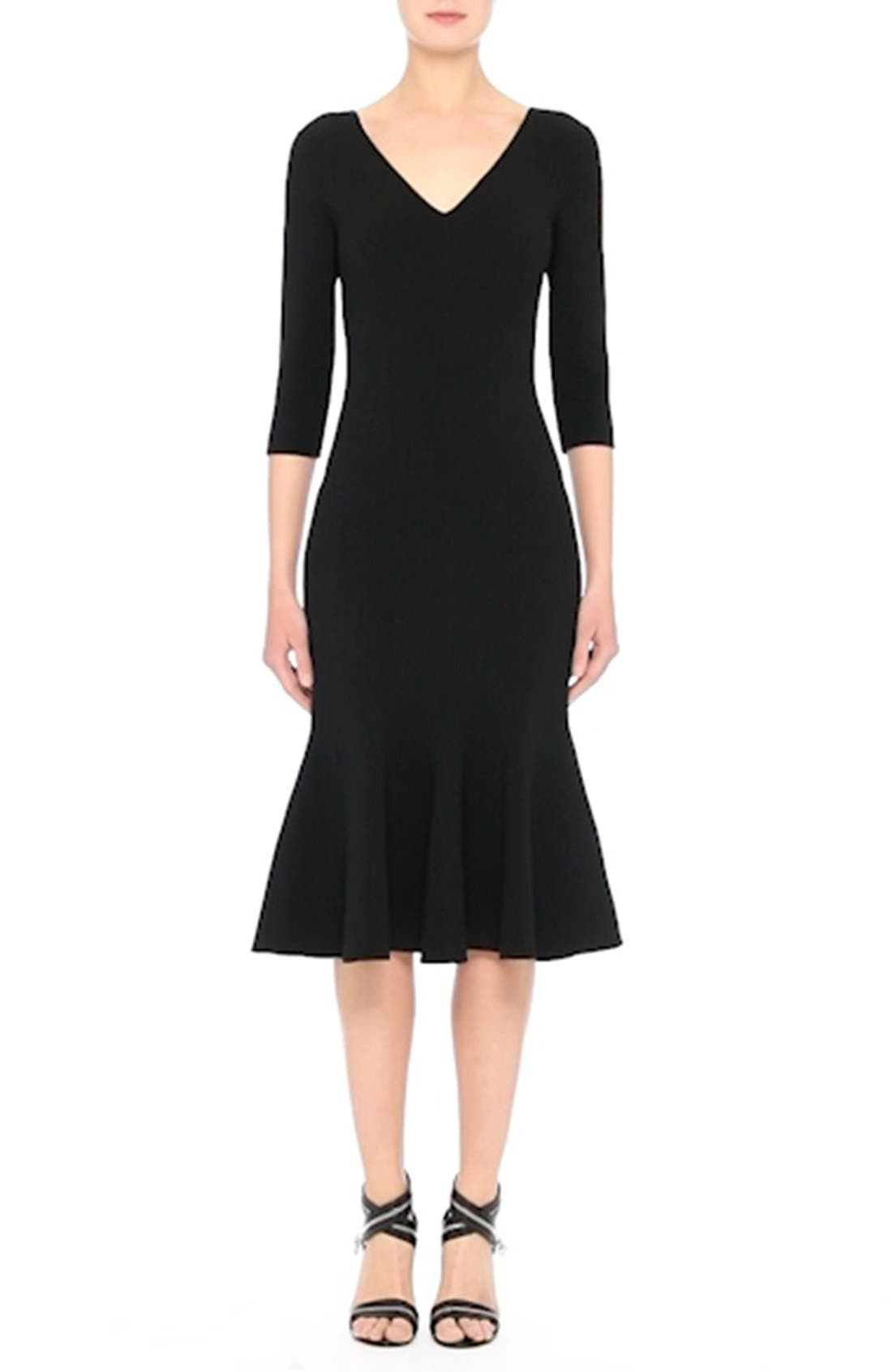 Stretch Wool Crepe Flounce Dress,                             Alternate thumbnail 7, color,