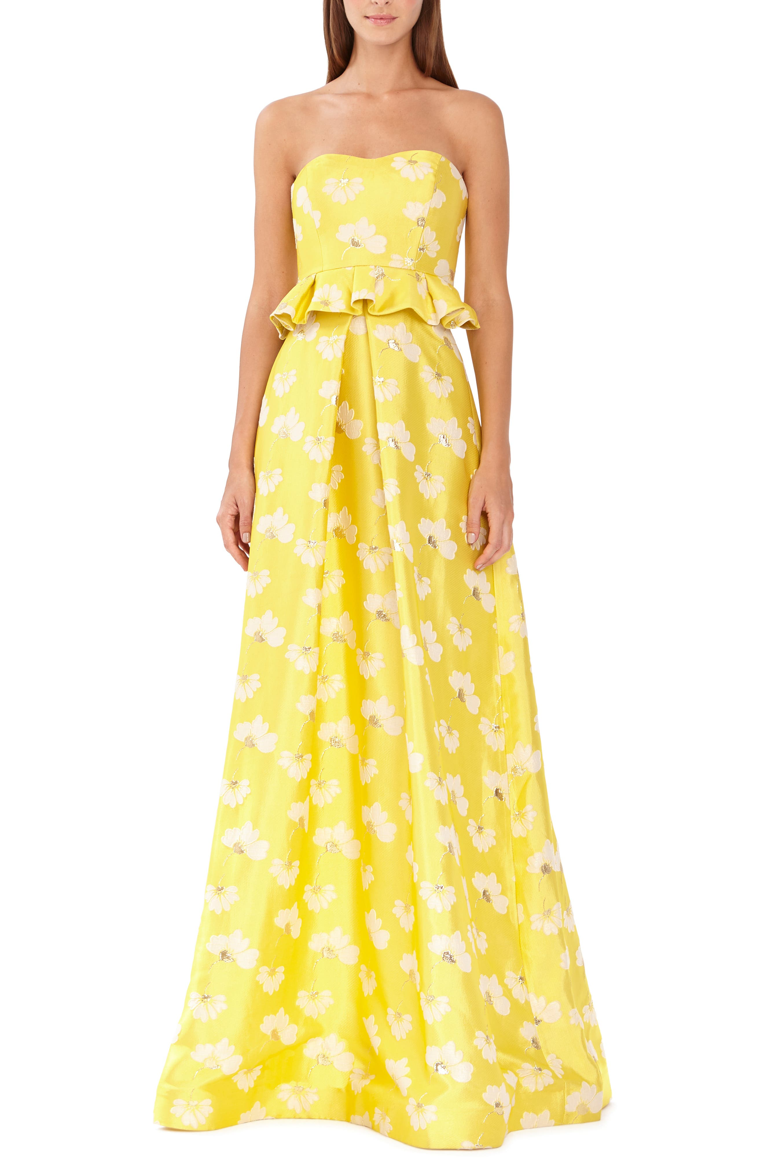 Ml Monique Lhuillier Strapless Floral Jacquard Gown, Yellow