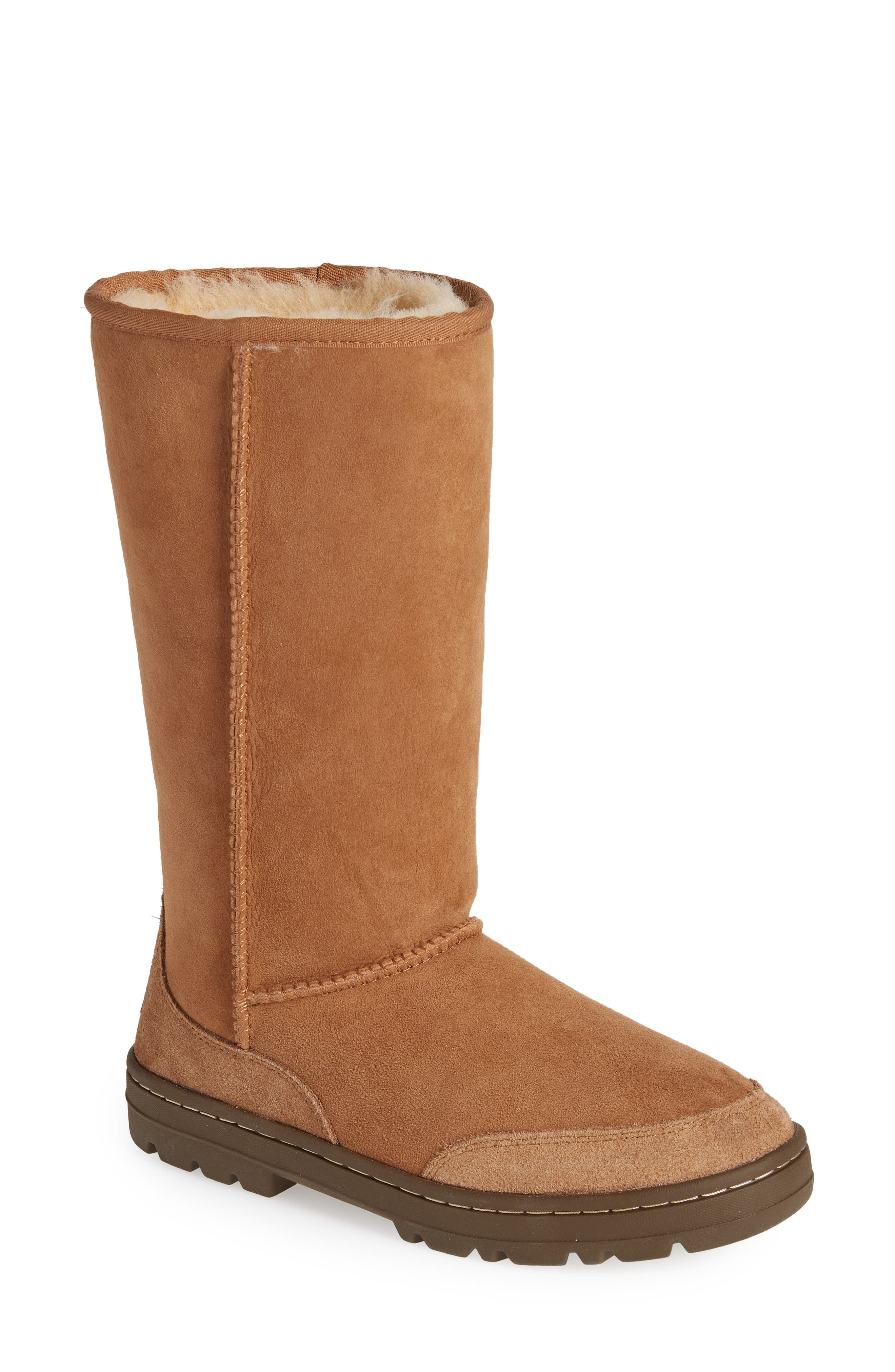 Ugg Ultra Revival Genuine Shearling Tall Boot in Chestnut