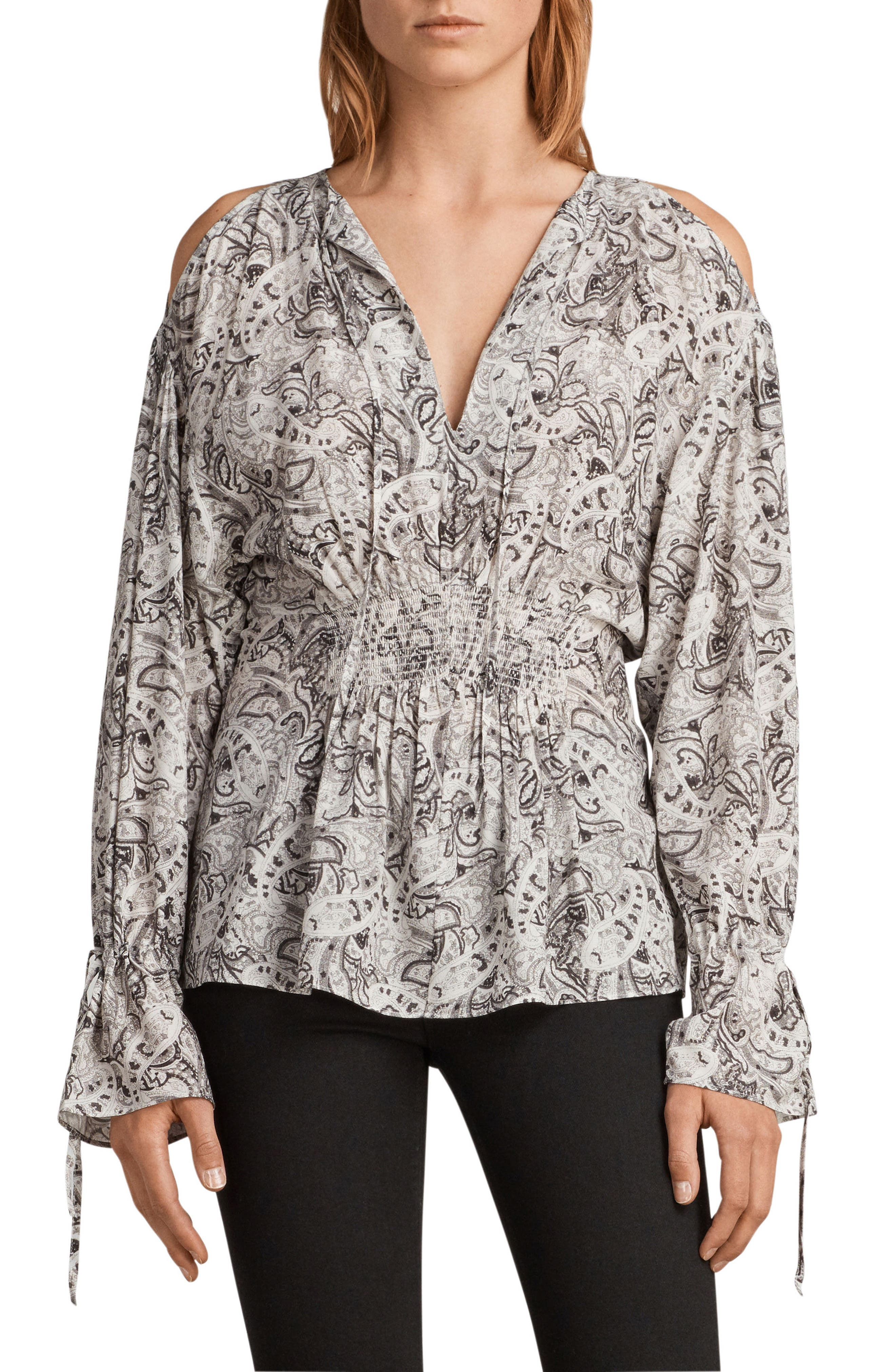 Lavete Paisley Cold Shoulder Top,                             Main thumbnail 1, color,