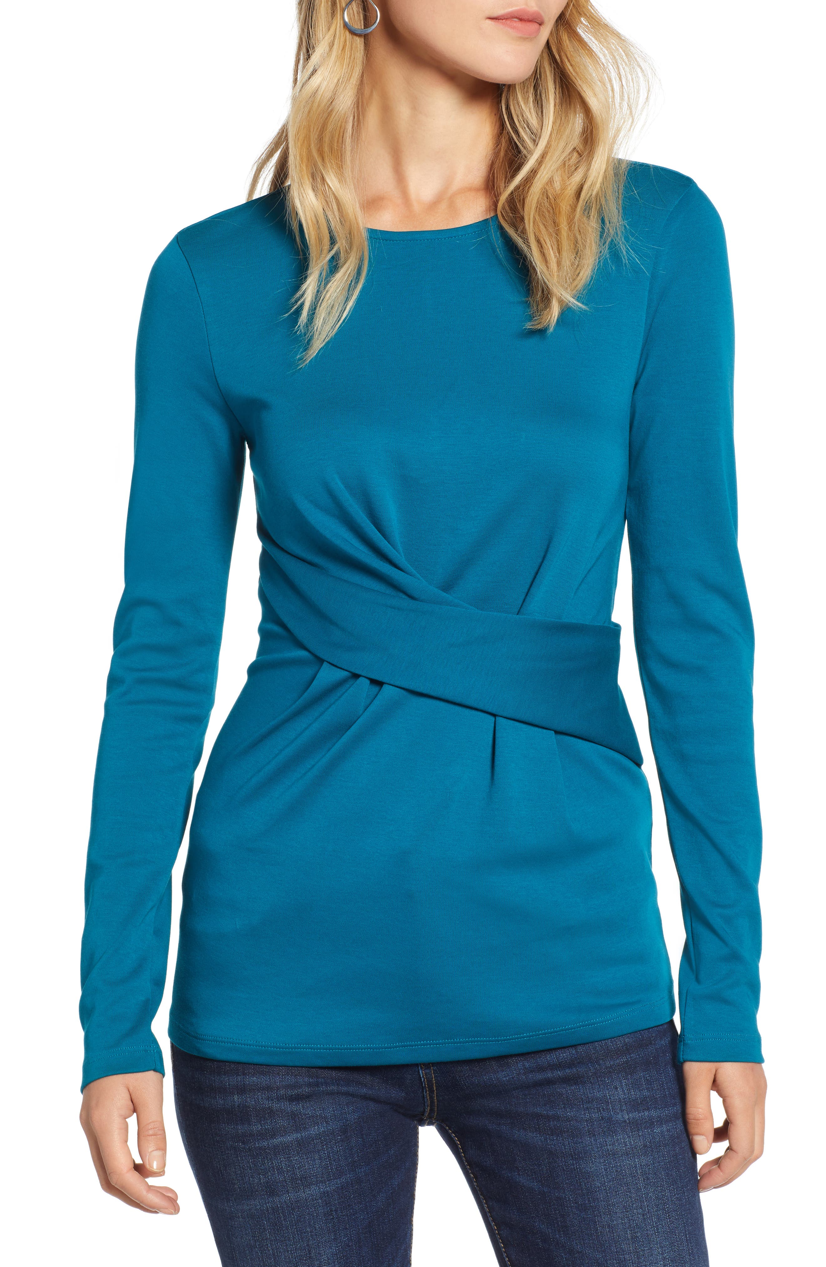 Ponte Drape Front Top,                         Main,                         color, TEAL GLOSS