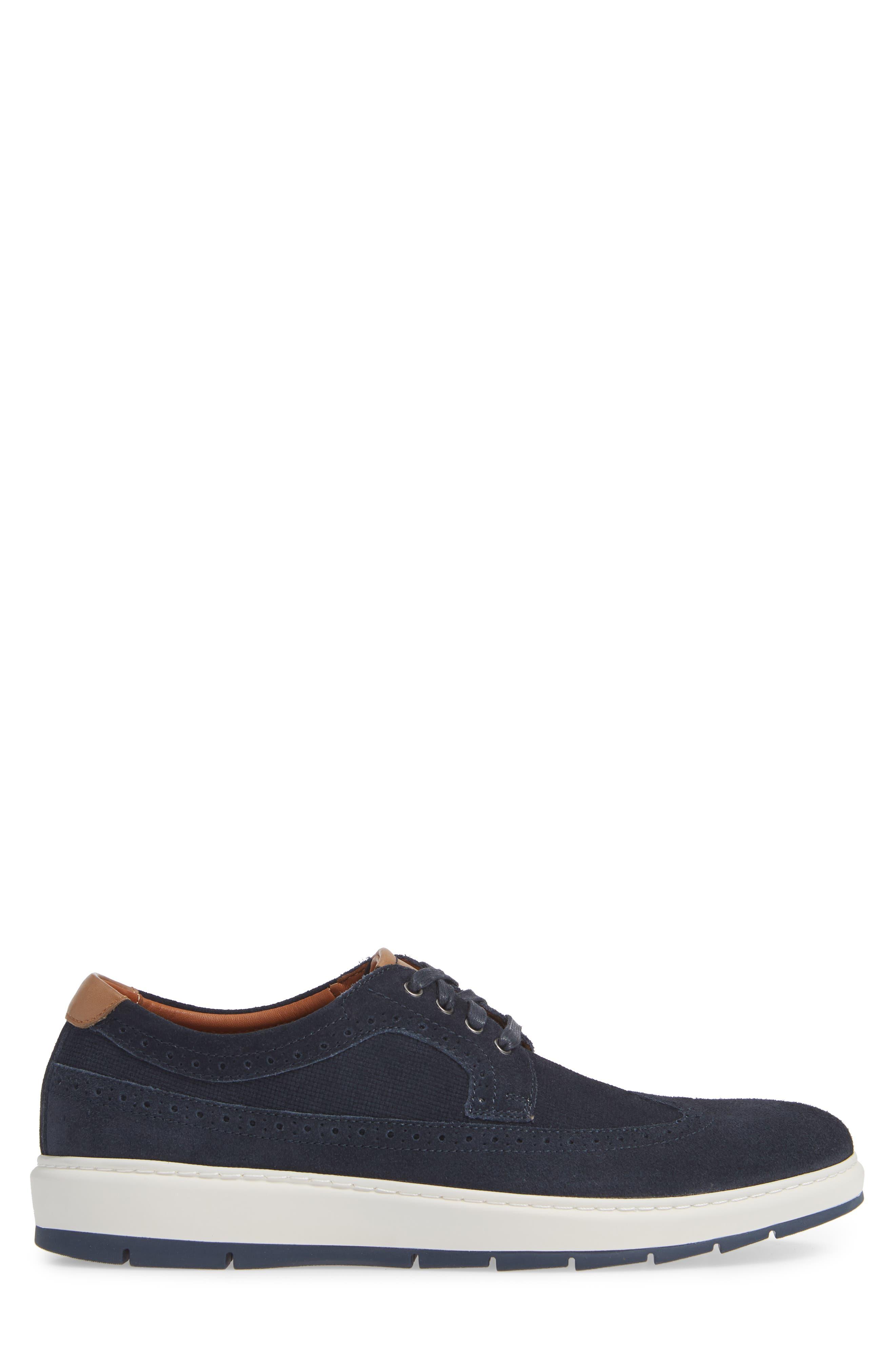Elliston Wingtip Sneaker,                             Alternate thumbnail 3, color,                             NAVY SUEDE