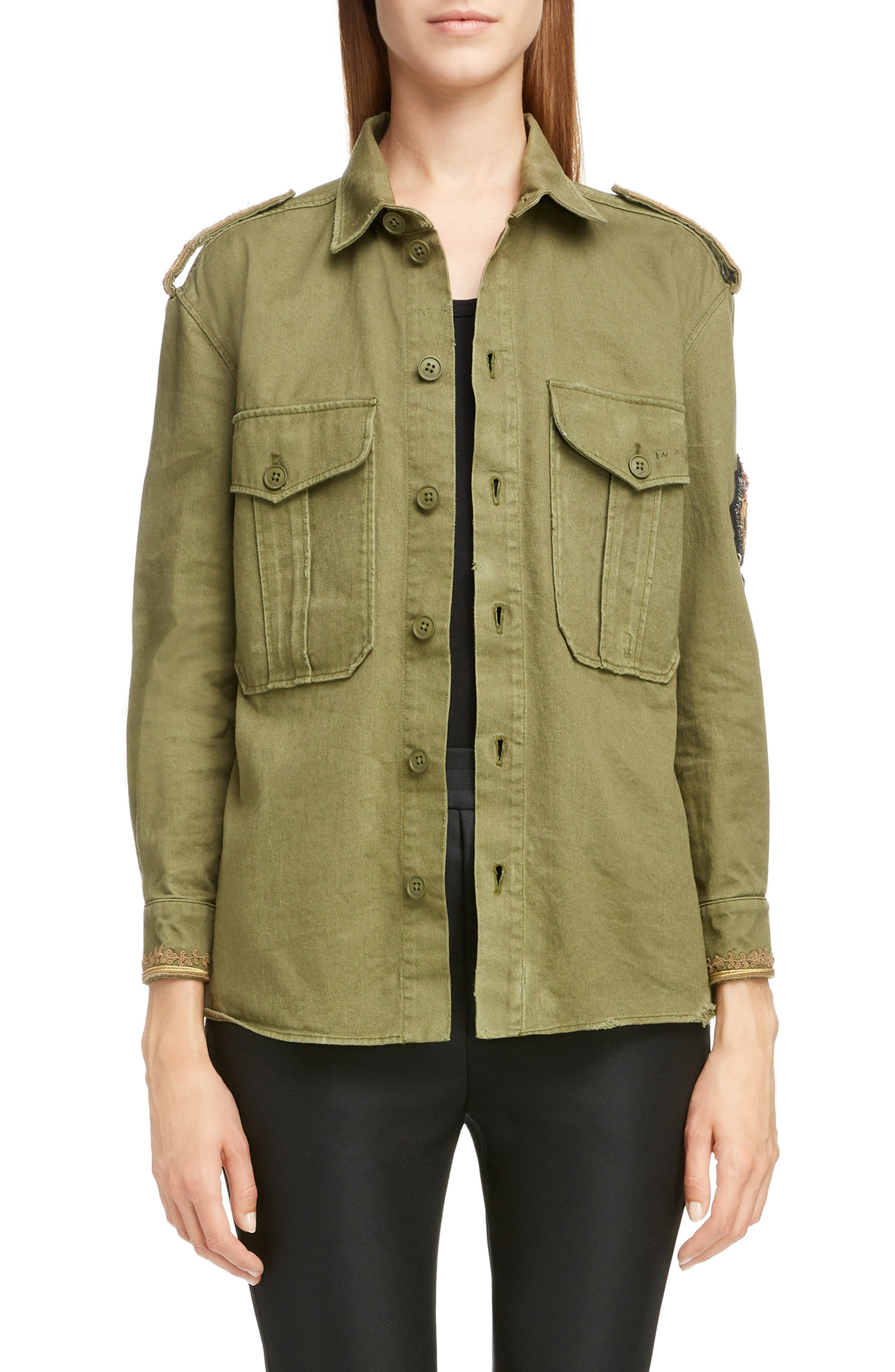 Military Patchwork Shirt Jacket in Olive