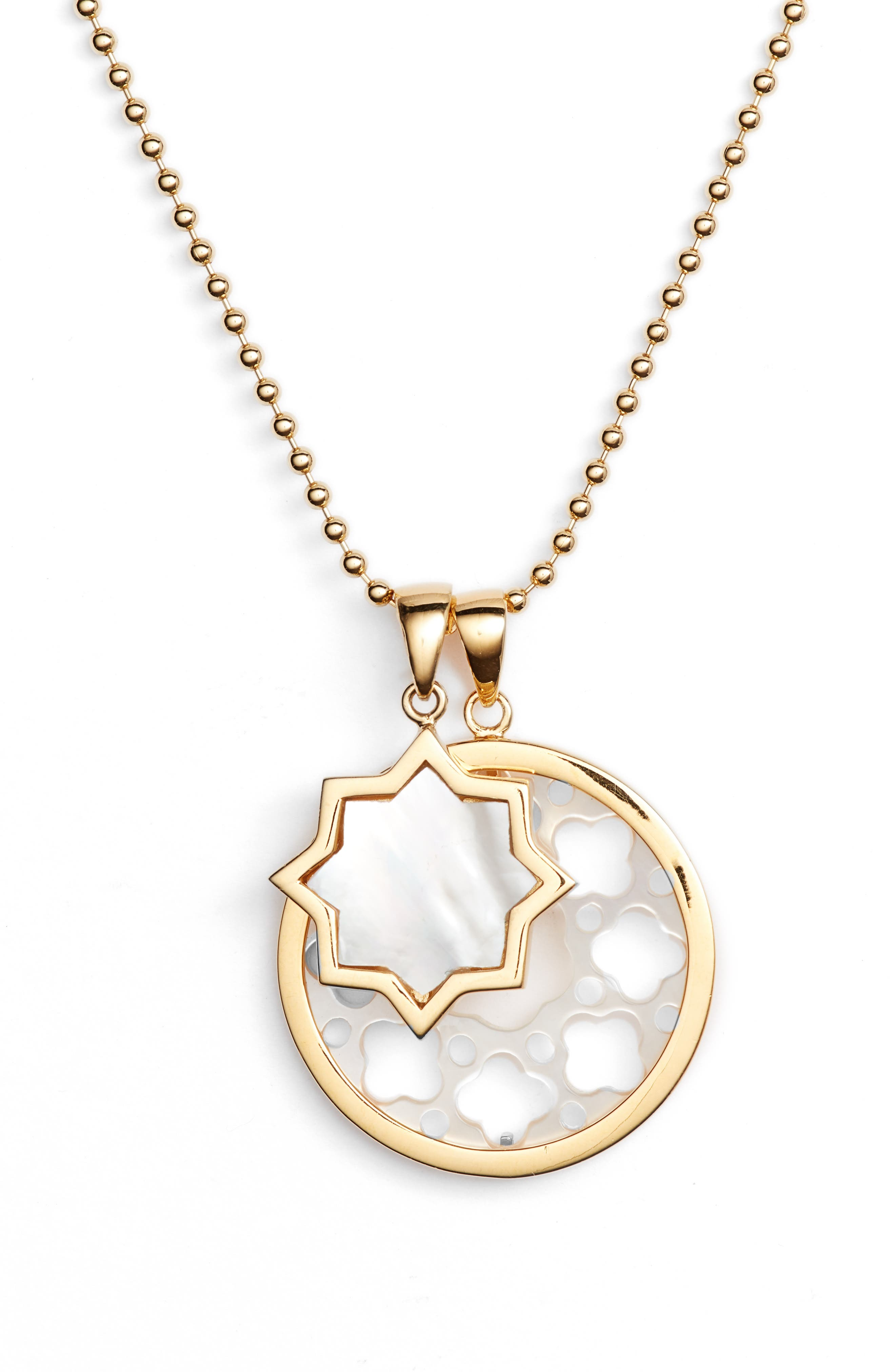 Carlotta Mother-of-Pearl Pendant Necklace,                             Alternate thumbnail 3, color,                             100