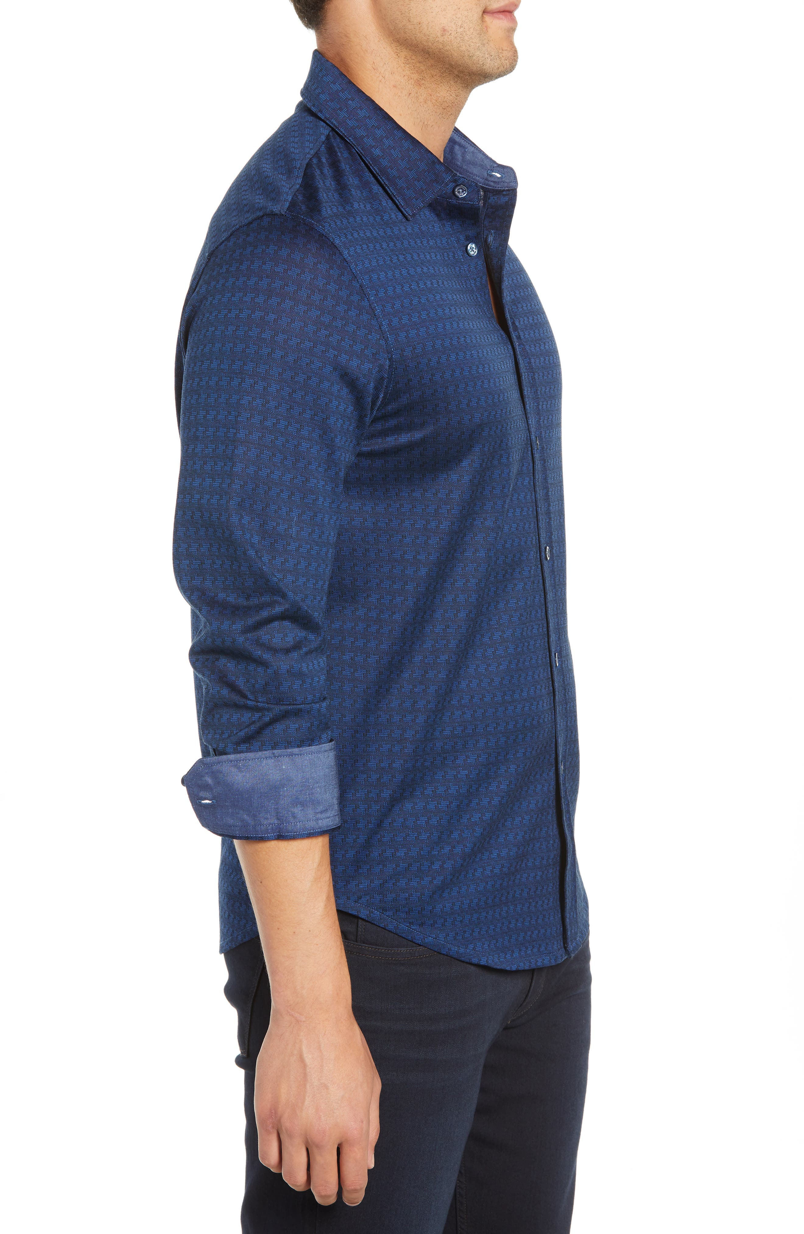 Shaped Fit Geo Knit Sport Shirt,                             Alternate thumbnail 4, color,                             MIDNIGHT