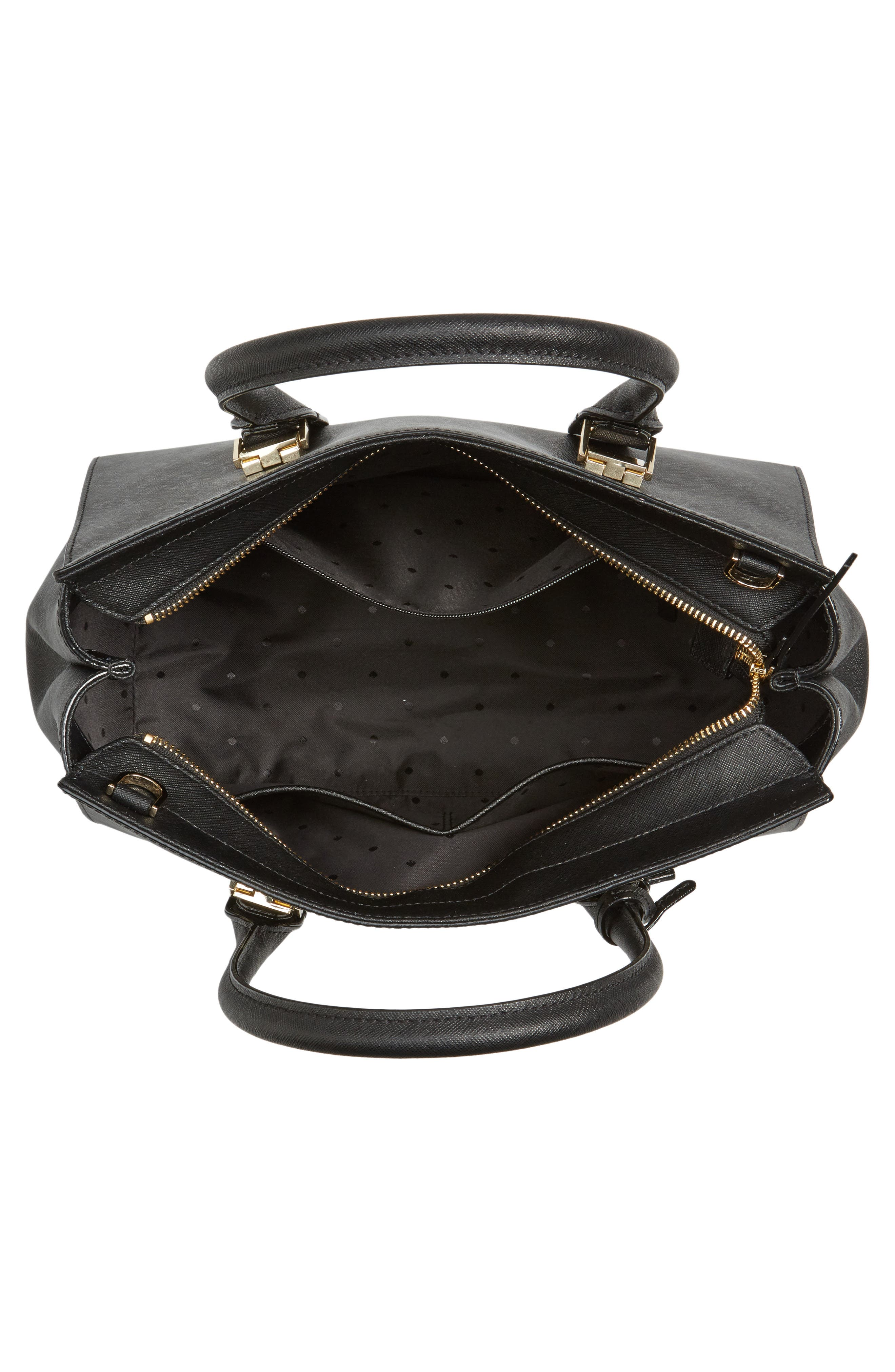 make it mine - candace leather satchel,                             Alternate thumbnail 4, color,                             001