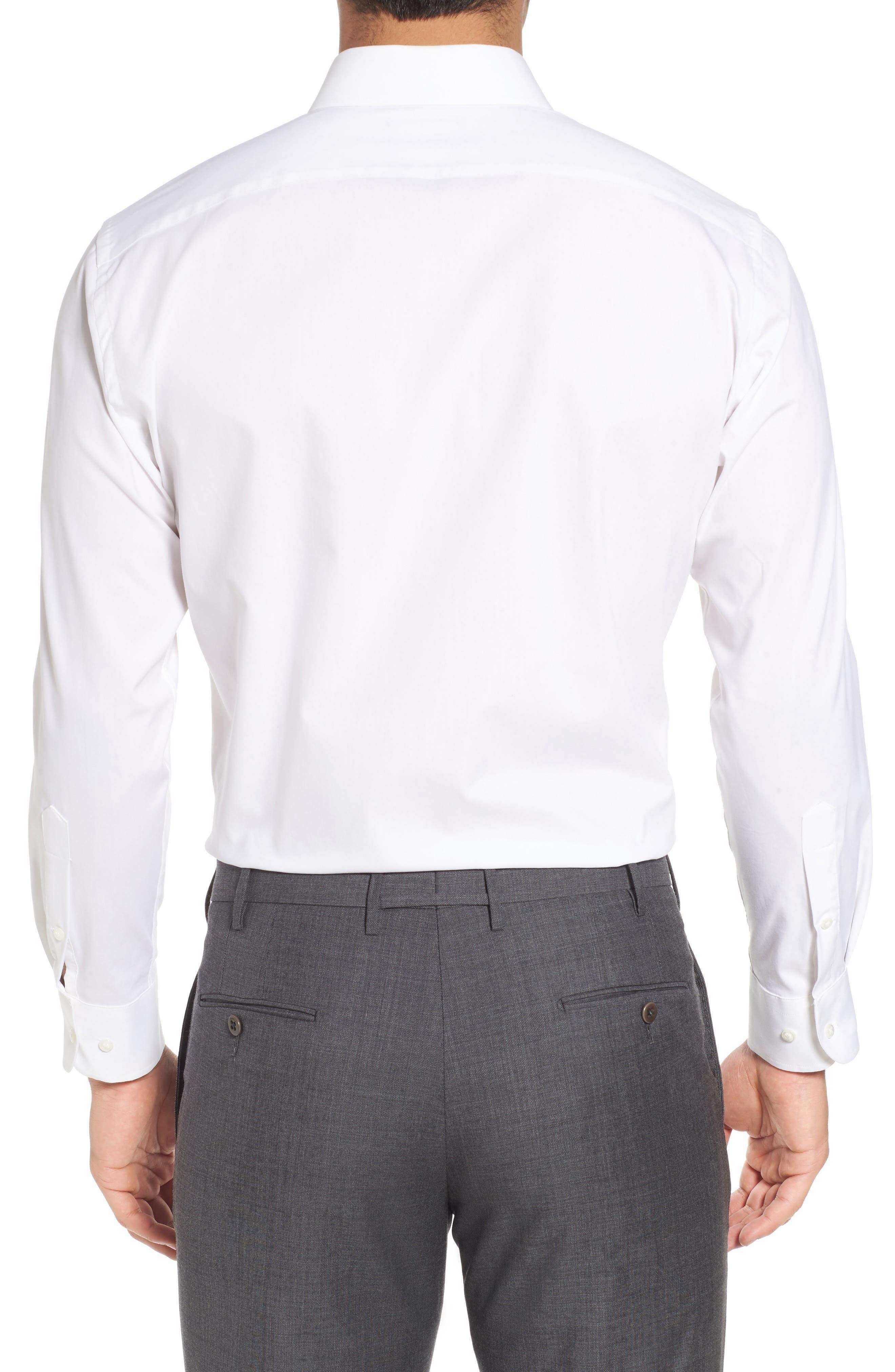 Tech-Smart Trim Fit Stretch Pinpoint Dress Shirt,                             Alternate thumbnail 2, color,                             WHITE