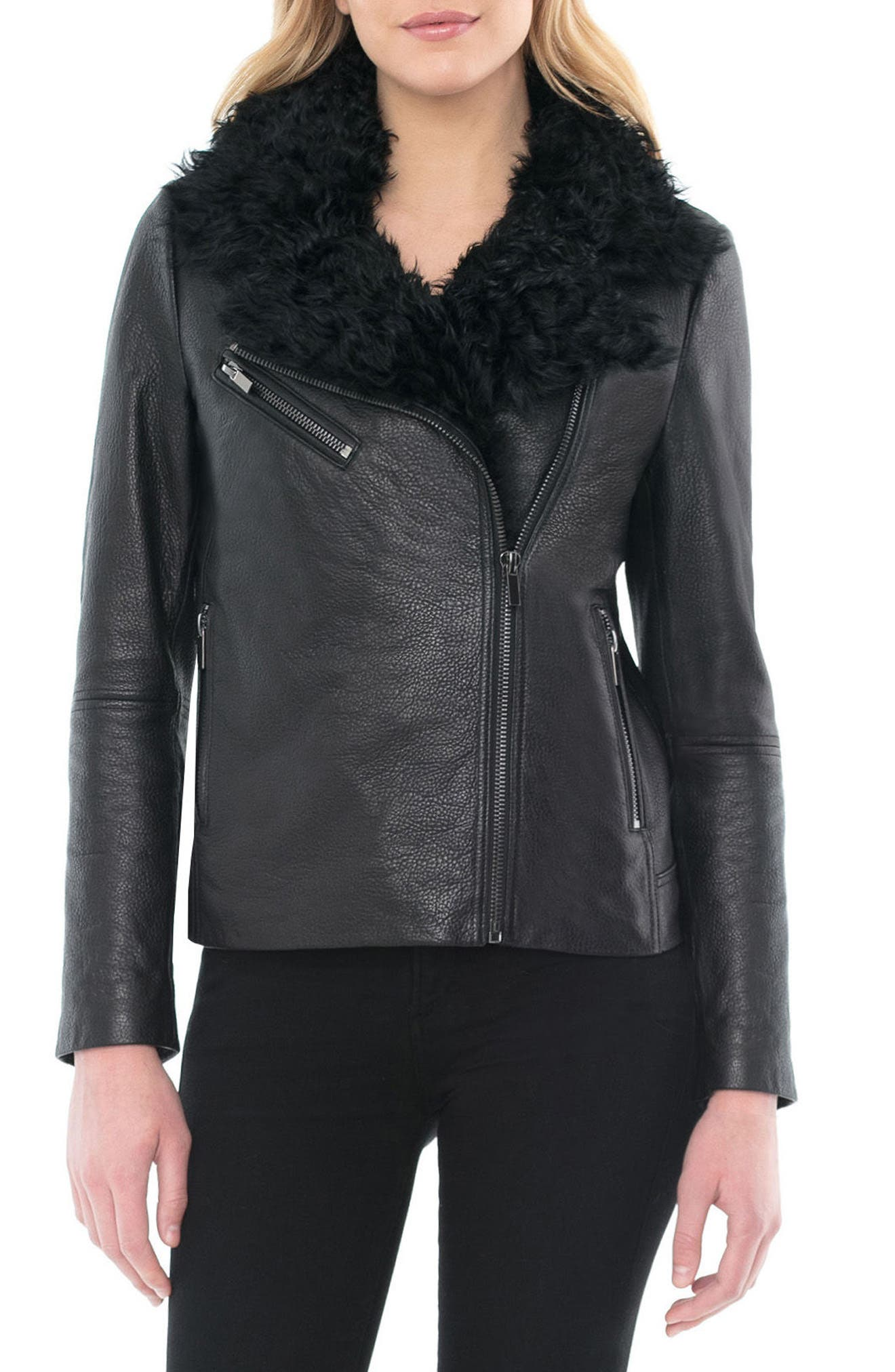 Marianne Genuine Shearling Collar Moto Jacket,                         Main,                         color, 001