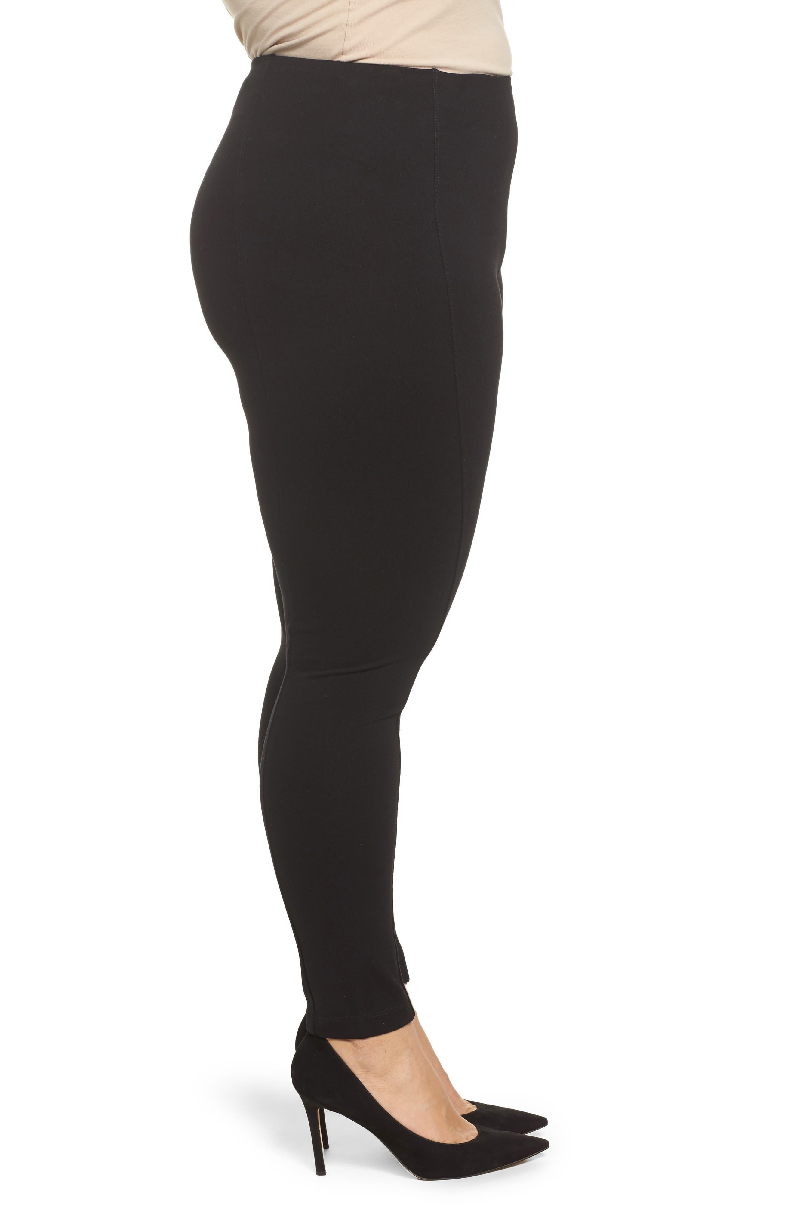 Mara Seamed Ponte Leggings,                             Alternate thumbnail 3, color,                             001