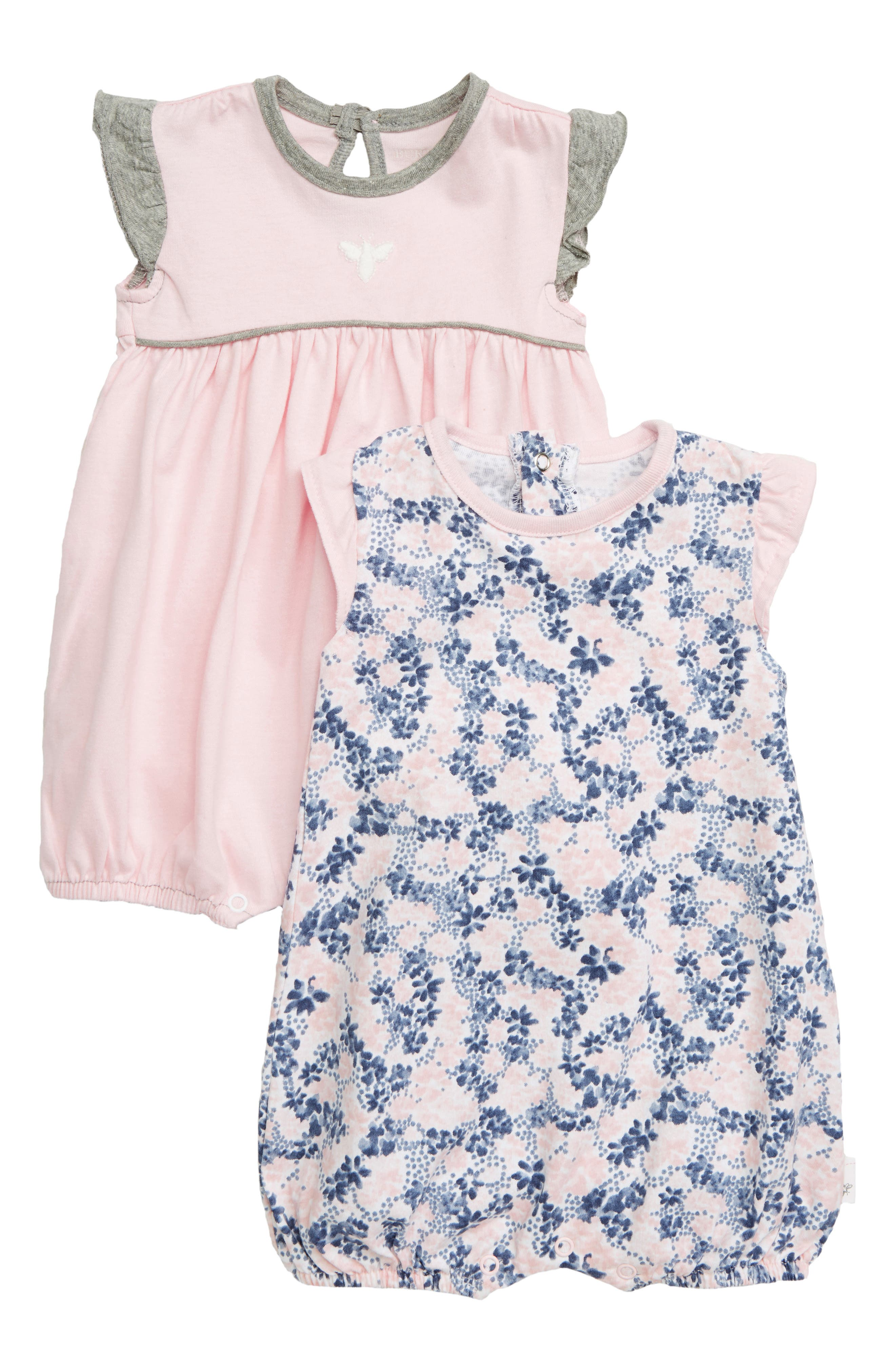 Infant Girls BurtS Bees Baby 2Pack Ditsy Floral Organic Cotton Bubble Rompers Size 36M  Pink