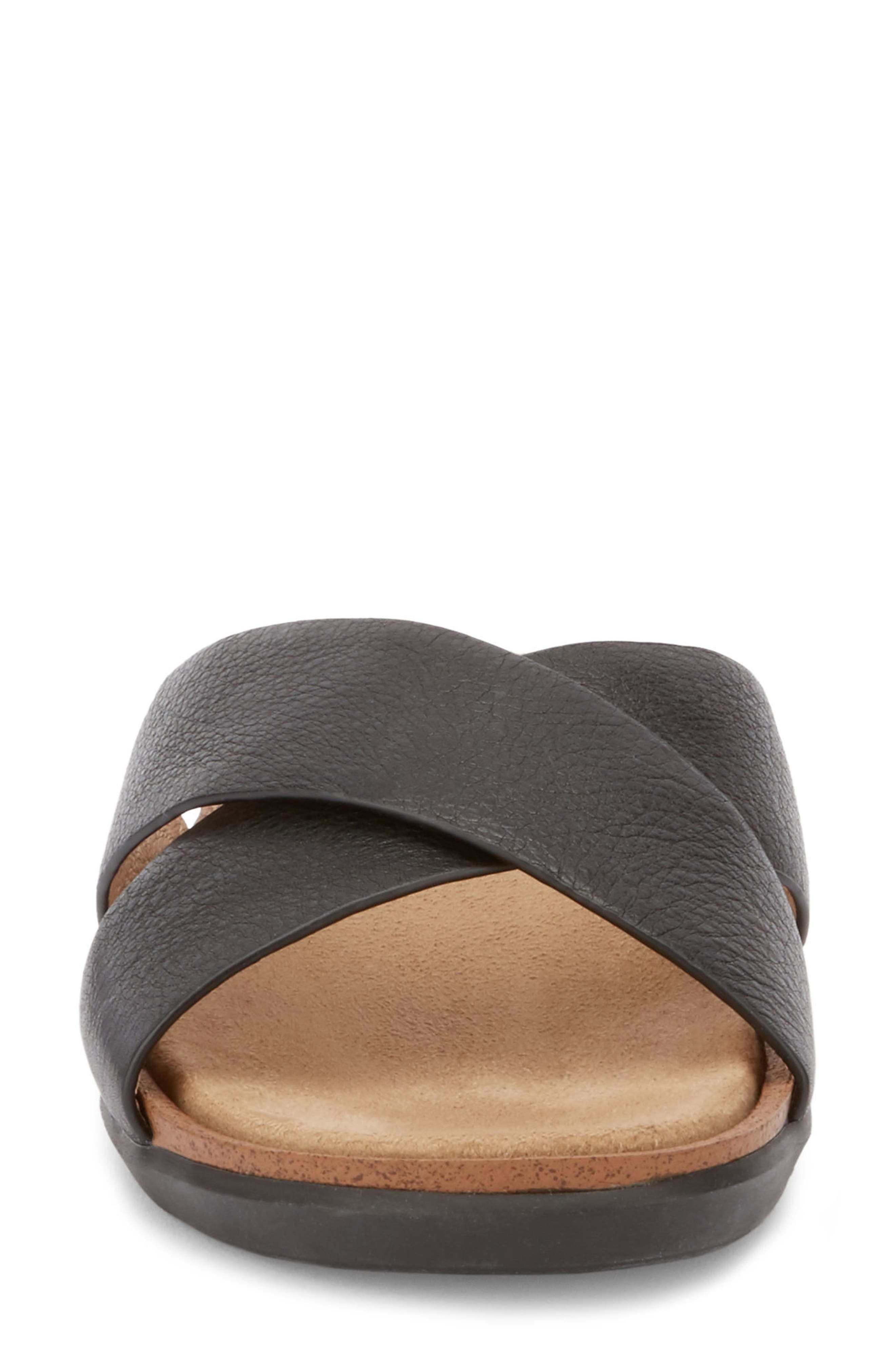 Stella Slide Sandal,                             Alternate thumbnail 4, color,                             BLACK LEATHER
