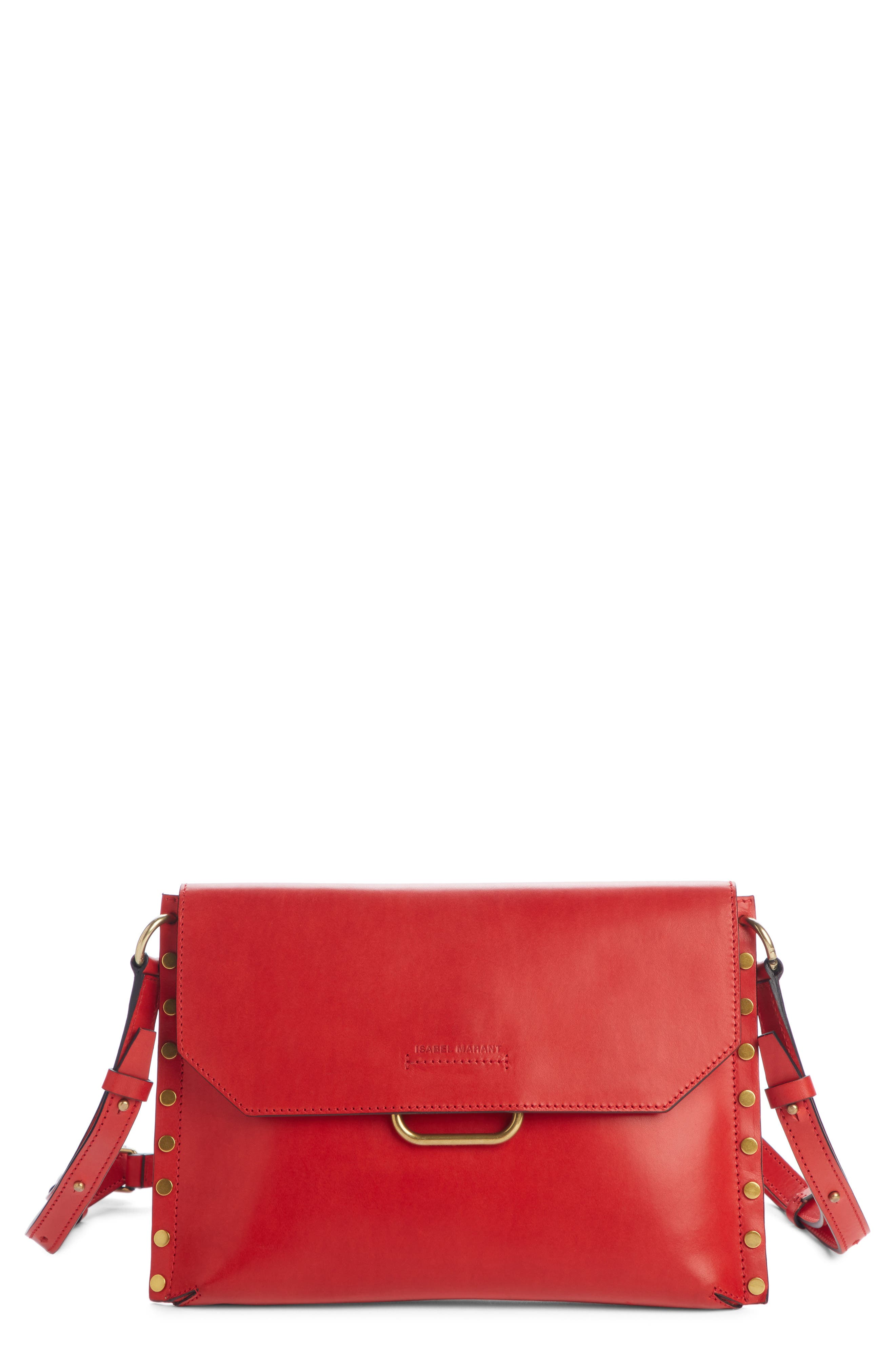 ISABEL MARANT Sinky Leather Crossbody Bag, Main, color, RED