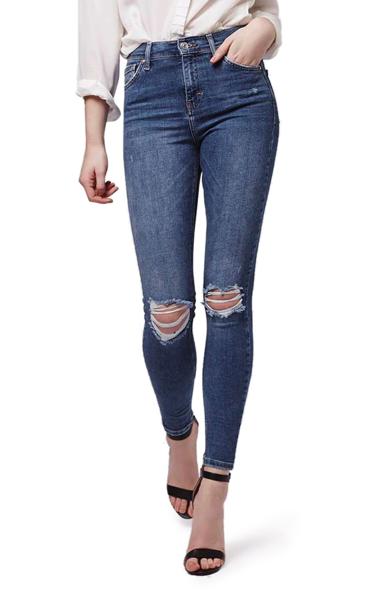 Jamie Rip High Waist Skinny Jeans,                             Main thumbnail 1, color,                             420