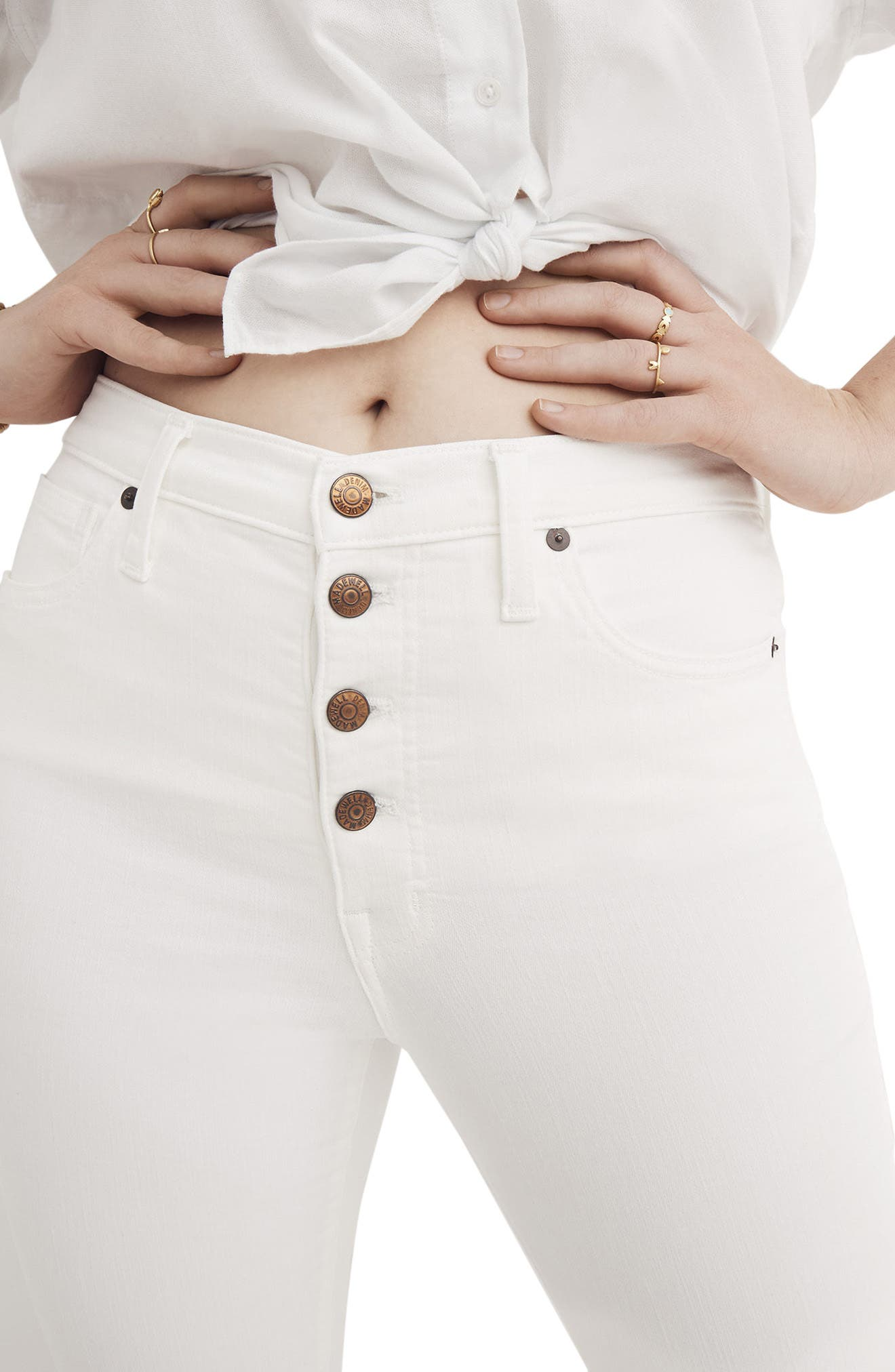 10-Inch Button High Waist Crop Skinny Jeans,                             Alternate thumbnail 4, color,                             PURE WHITE