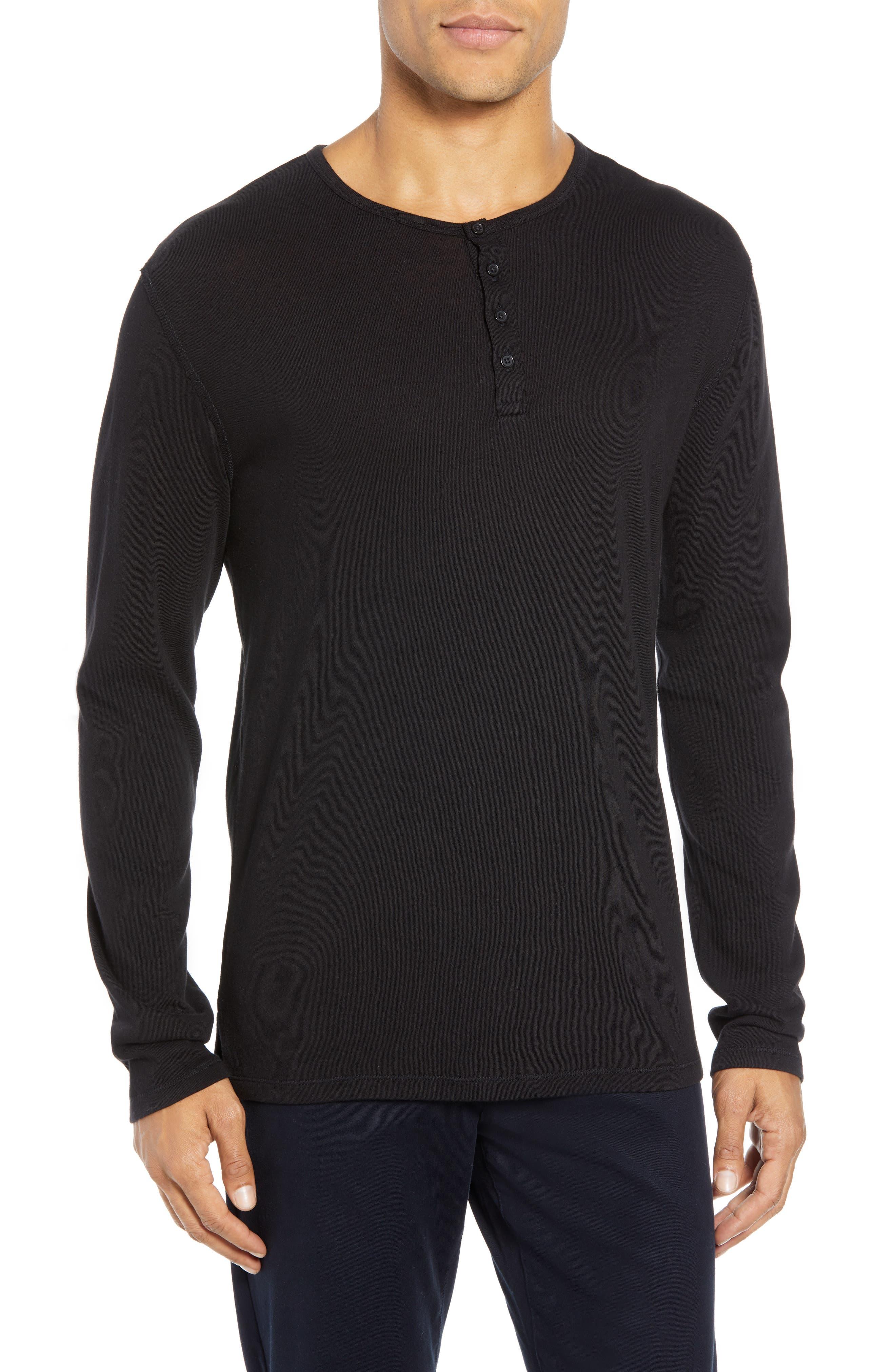 Long Sleeve Henley,                         Main,                         color, BLACK