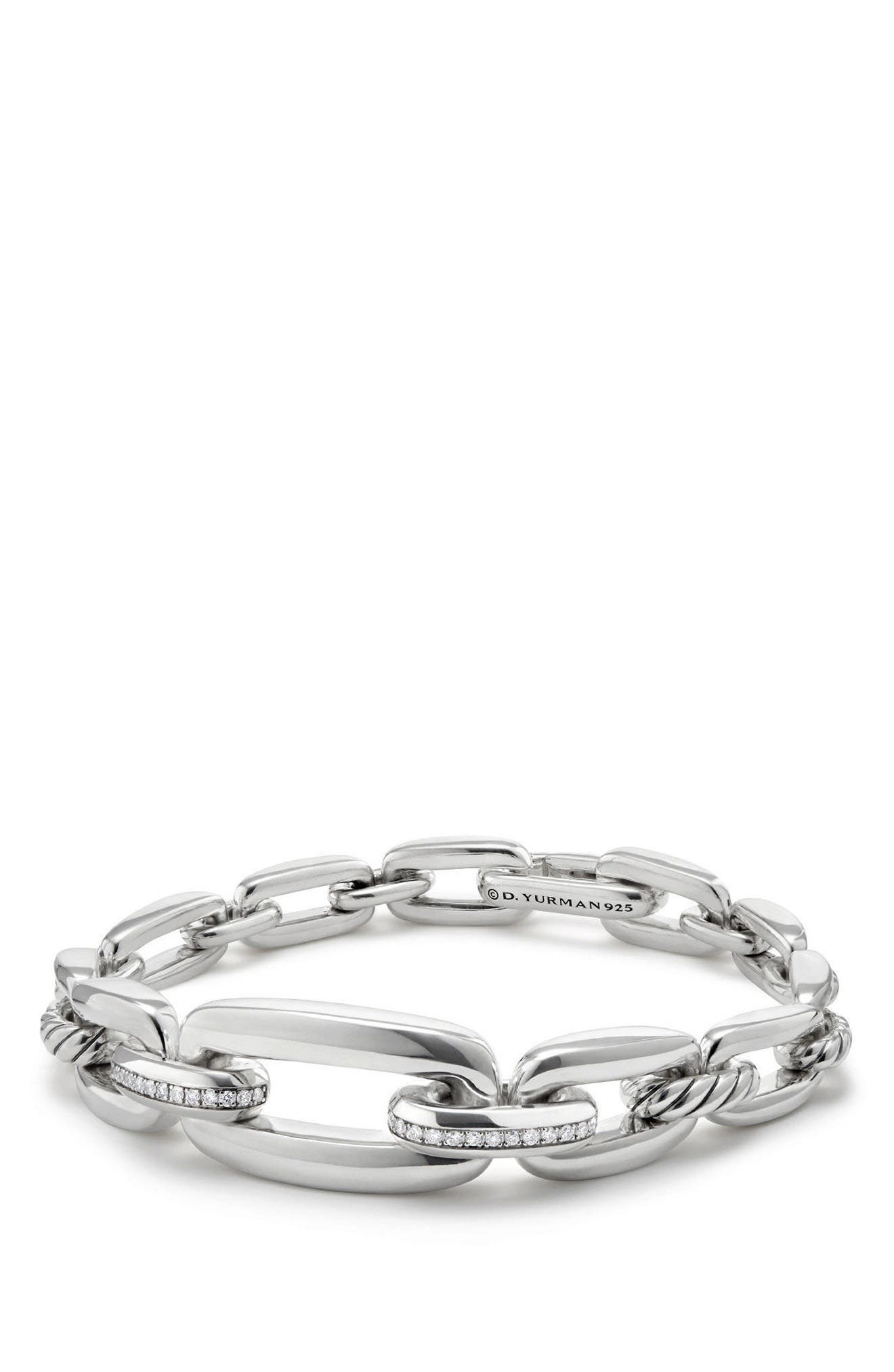 Wellesley Chain Link Bracelet with Diamonds,                         Main,                         color, SILVER