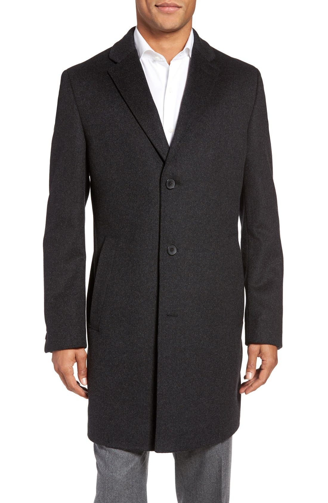BOSS The Stratus Wool & Cashmere Overcoat,                         Main,                         color, 010