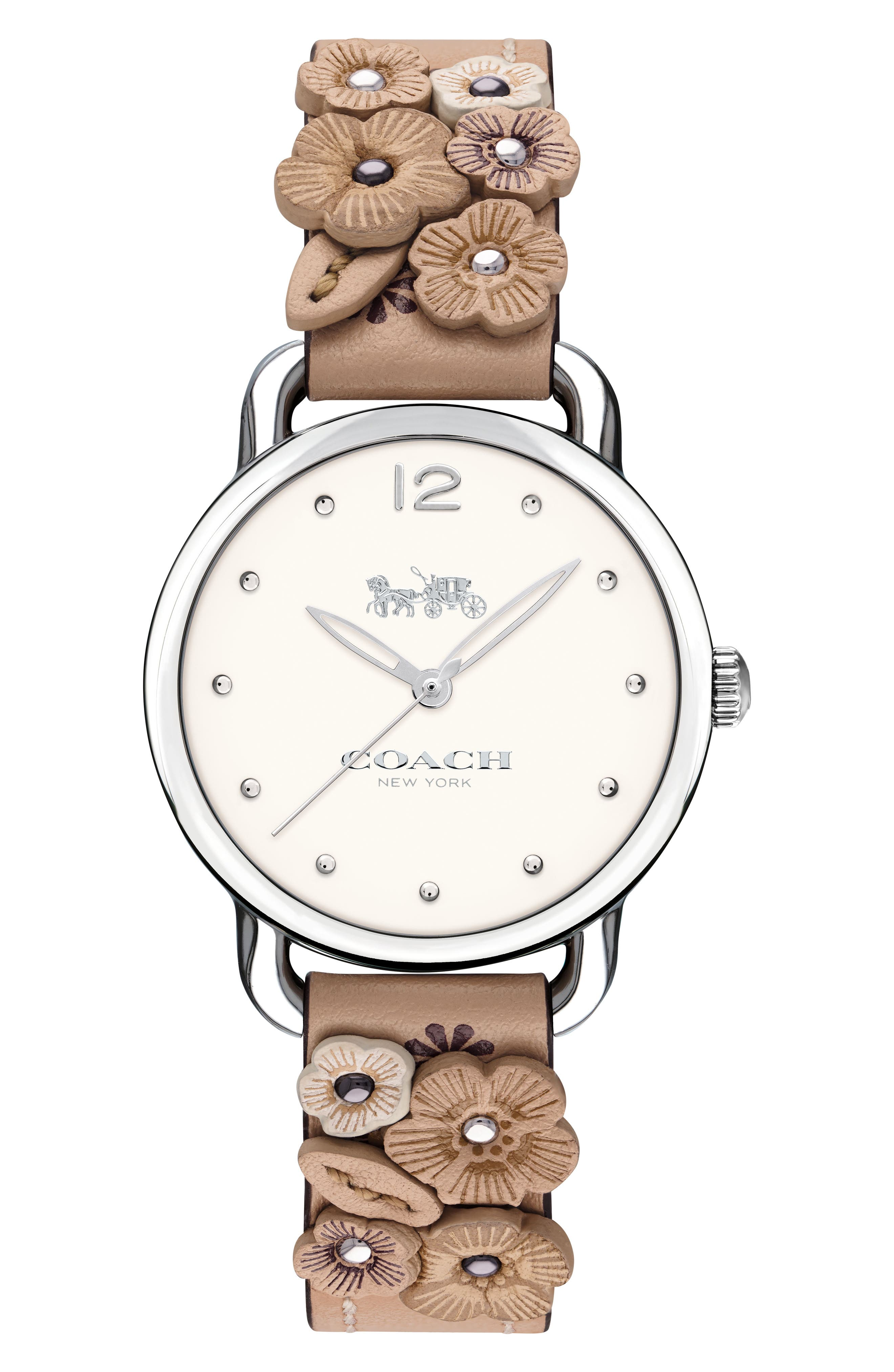 Delancey Floral Leather Strap Watch, 28mm,                         Main,                         color, PINK/ WHITE/ SILVER