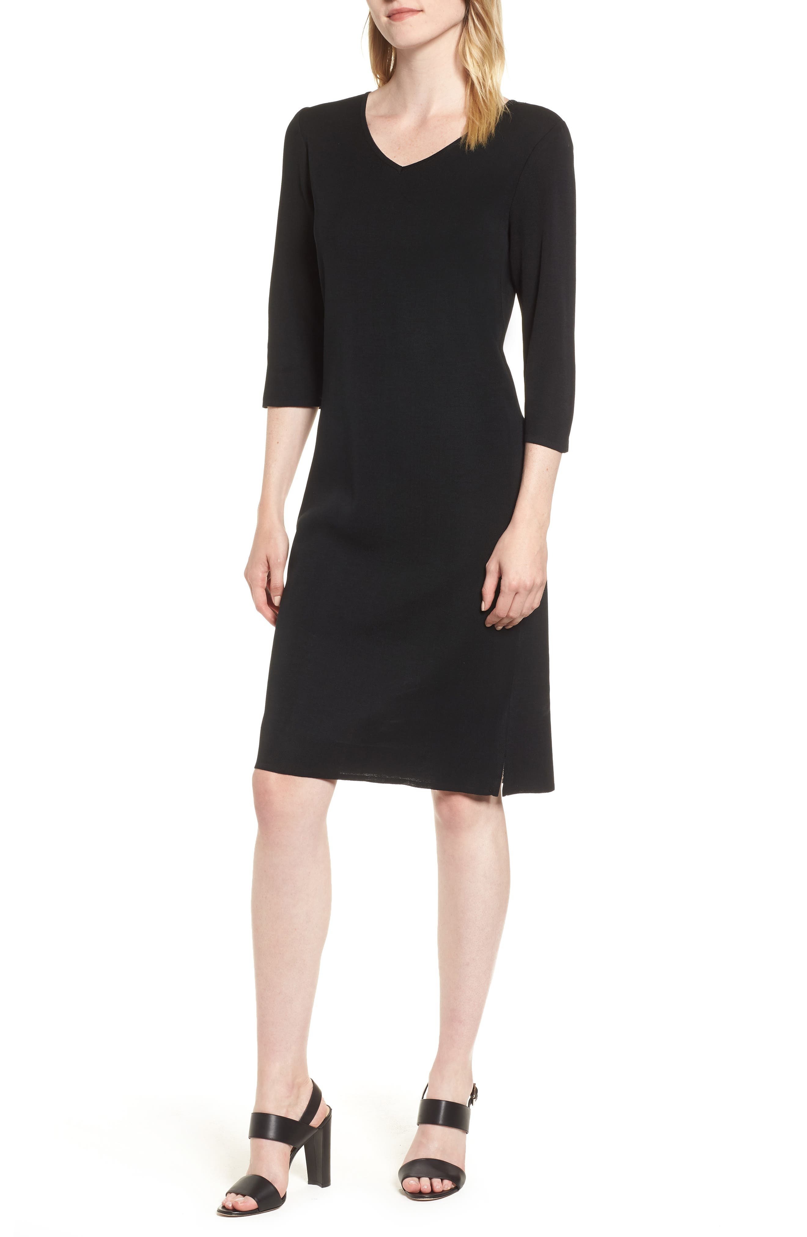MING WANG,                             V-Neck Dress,                             Main thumbnail 1, color,                             BLACK