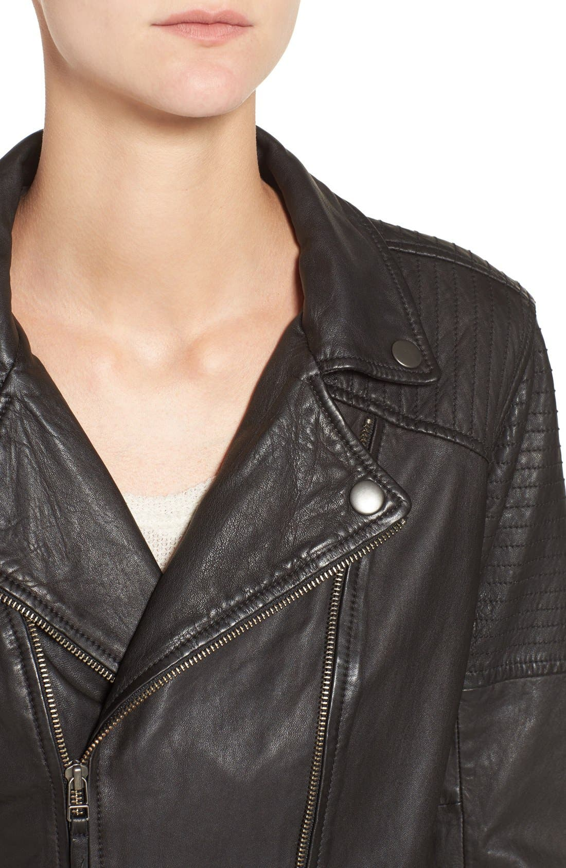 Quilted Leather Moto Jacket,                             Alternate thumbnail 9, color,                             001