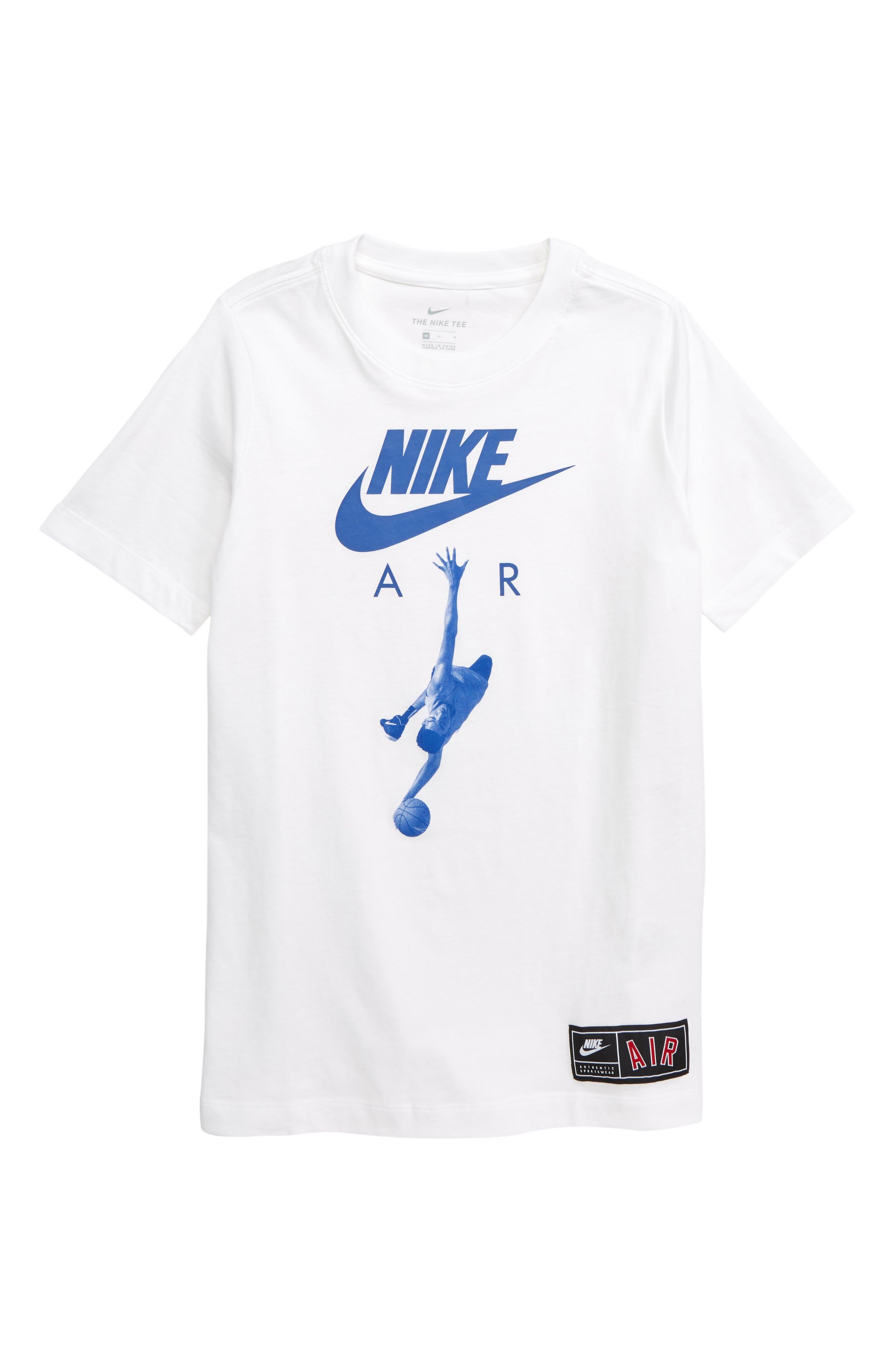 NIKE,                             Air Dunk T-Shirt,                             Main thumbnail 1, color,                             WHITE/ GAME ROYAL