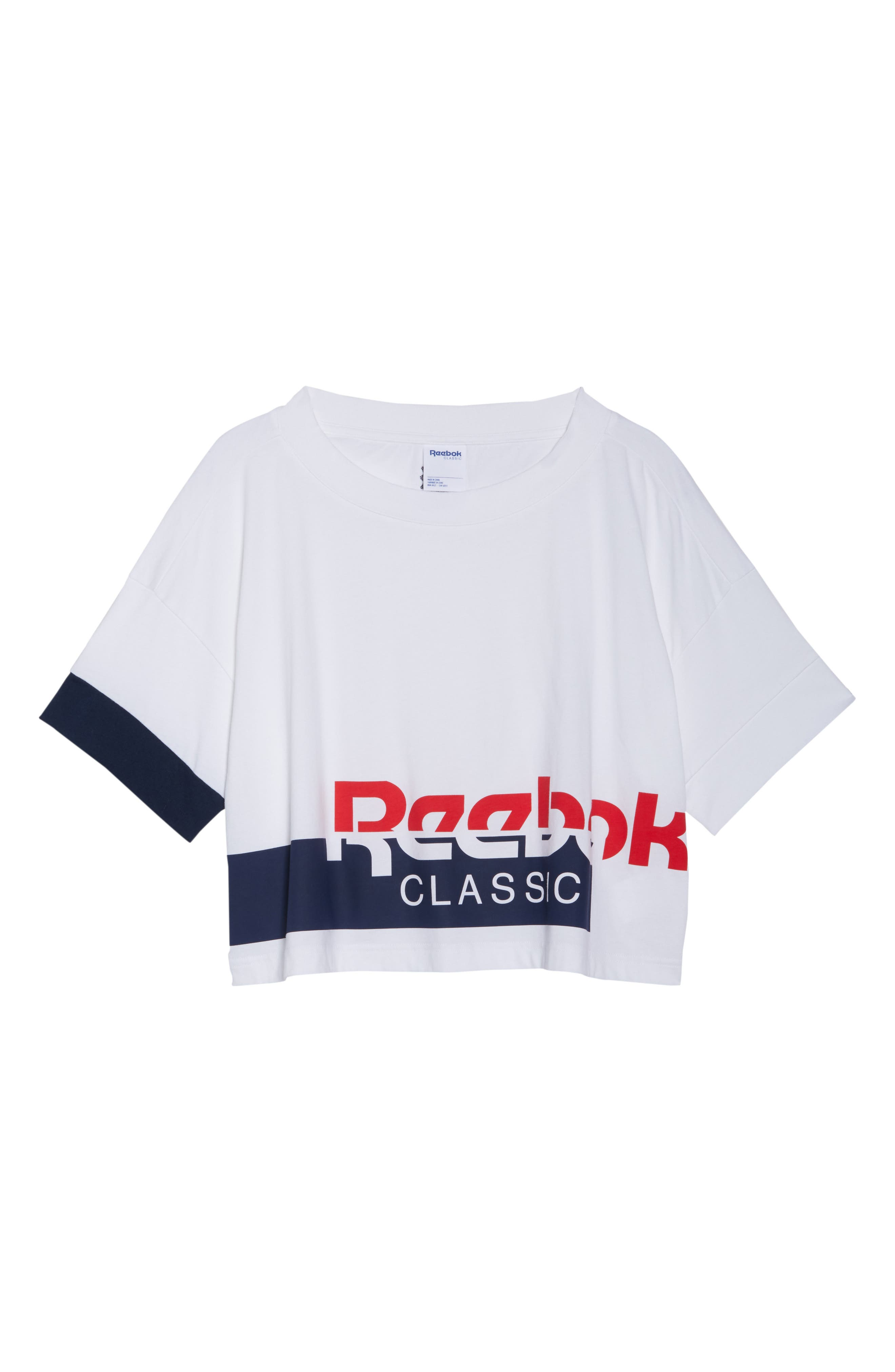AC Cropped Tee,                             Alternate thumbnail 6, color,                             WHITE/ COLLEGIATE NAVY