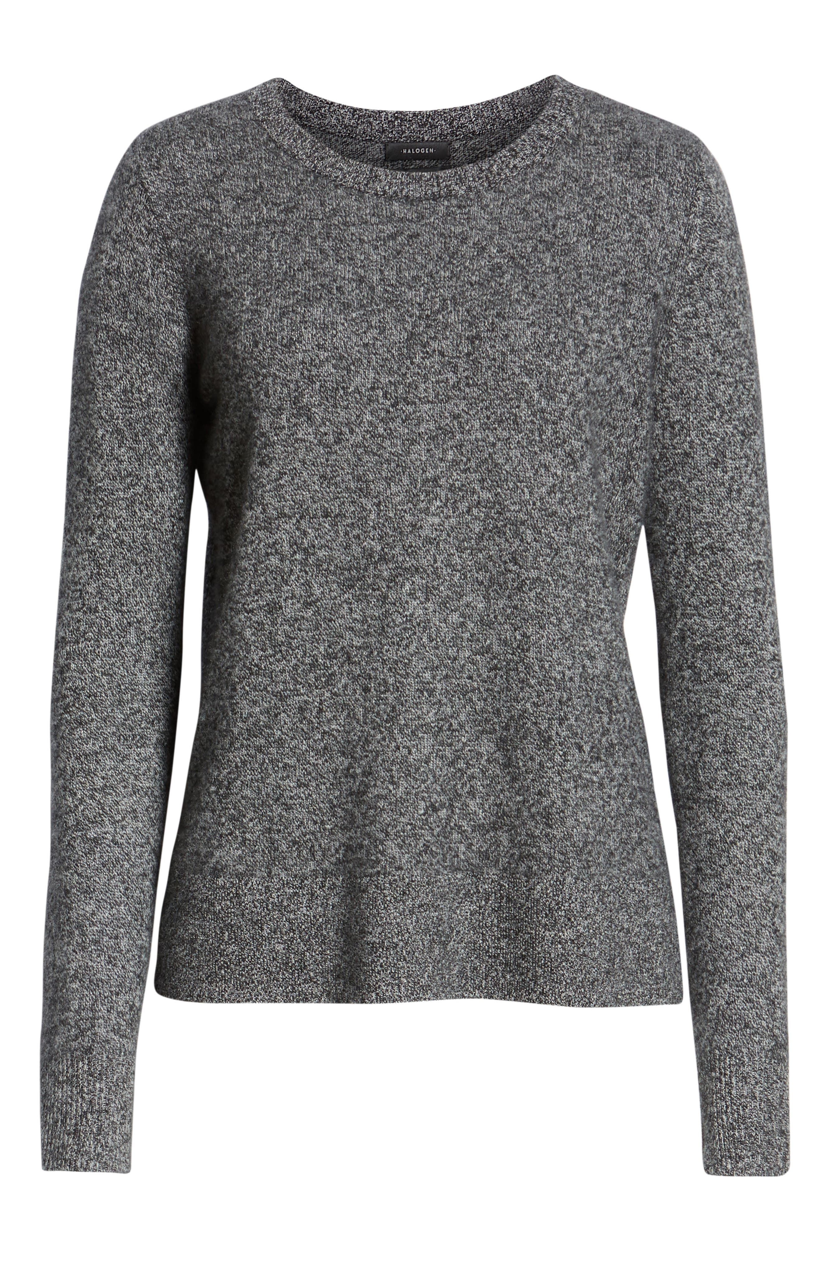 Crewneck Cashmere Sweater,                             Alternate thumbnail 6, color,                             BLACK- GREY MARL