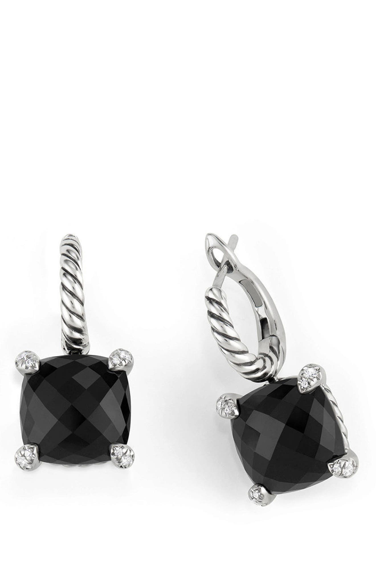 Châtelaine Drop Earrings with Diamonds,                         Main,                         color, BLACK ONYX?