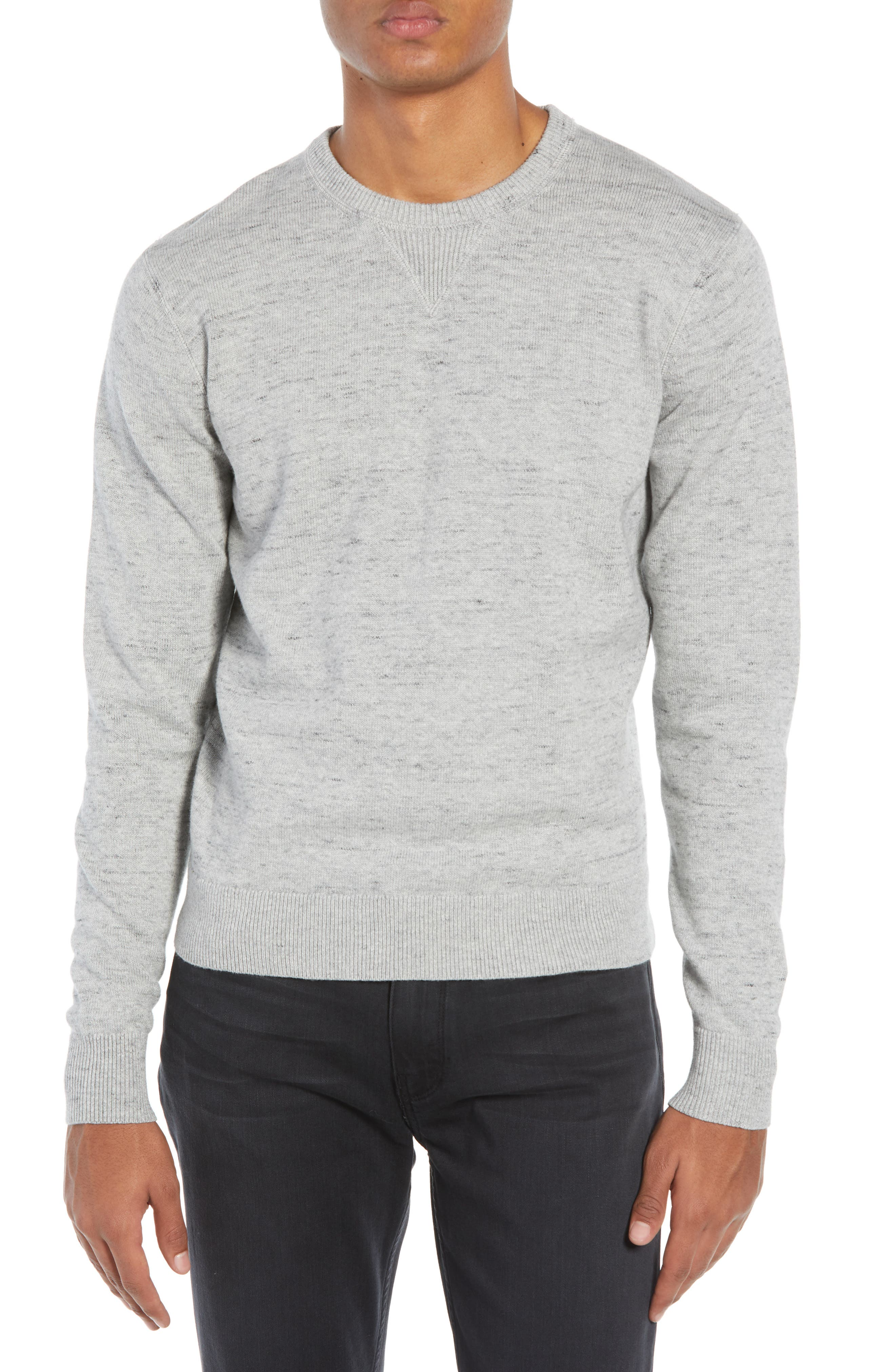 TODD SNYDER Regular Fit Space Dye Sweater in Grey