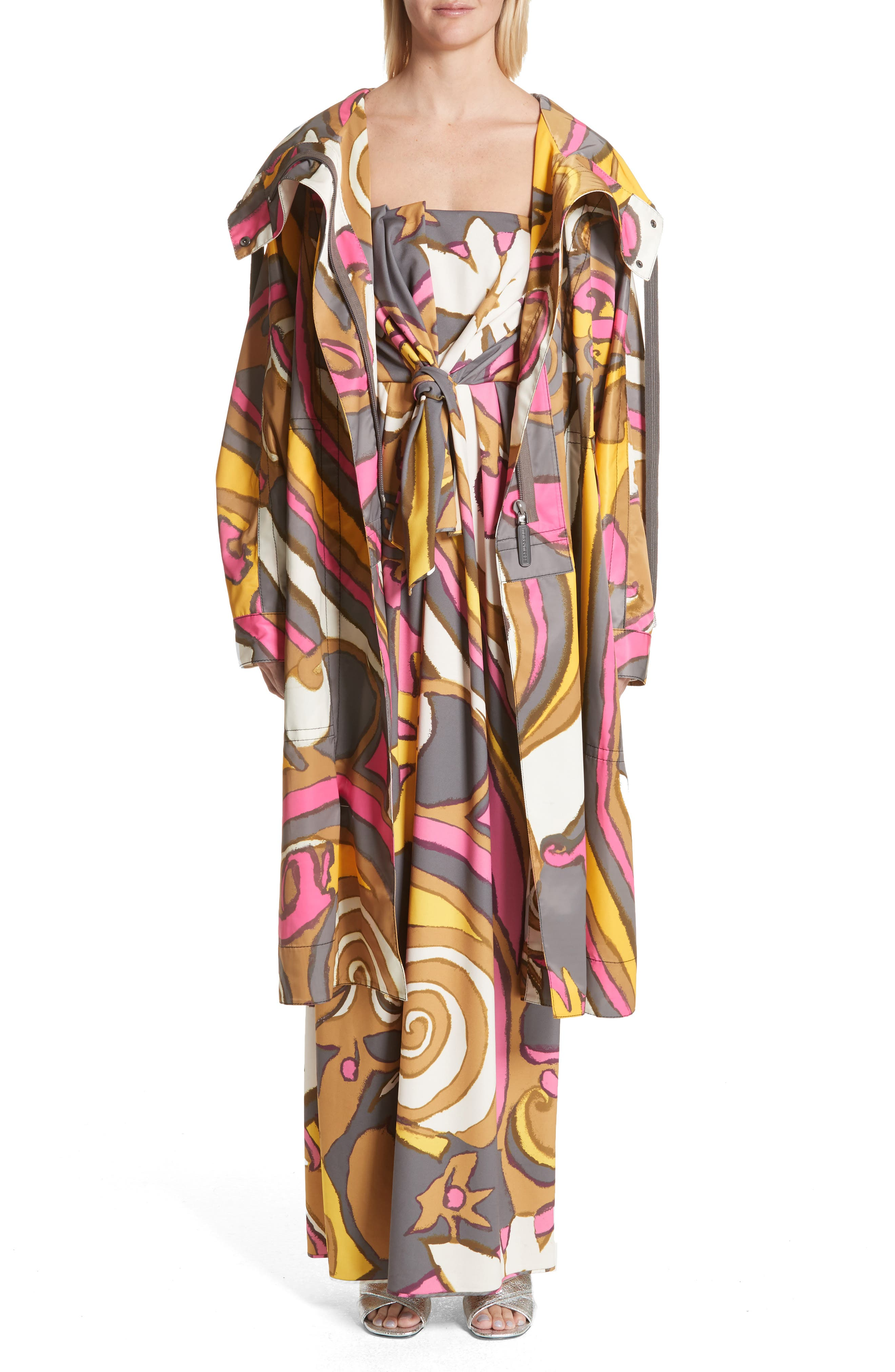 Retro Print Oversize Coat,                             Alternate thumbnail 7, color,                             060