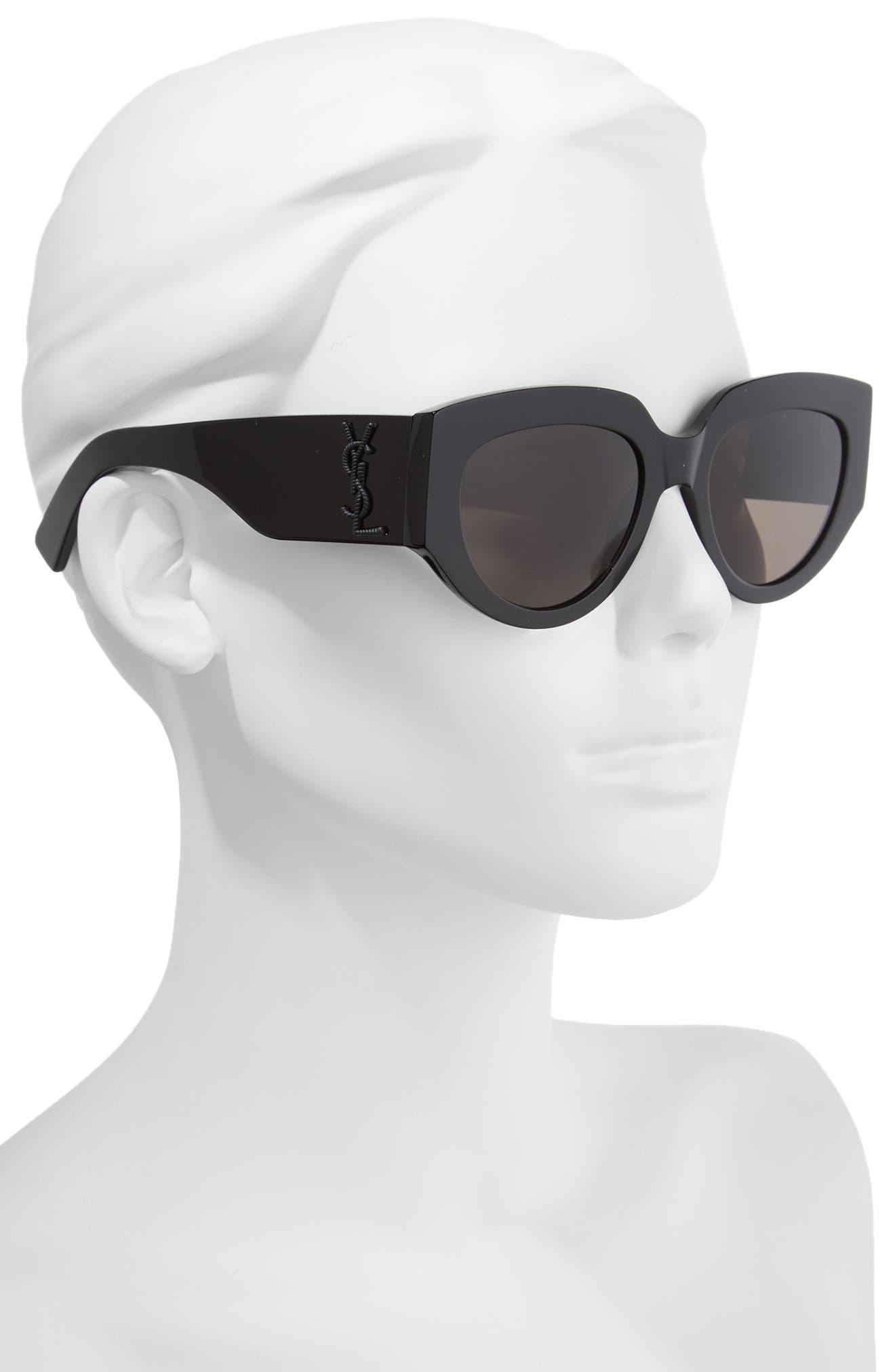 Rope 54mm Cat Eye Sunglasses,                             Alternate thumbnail 2, color,                             BLACK/ BLACK