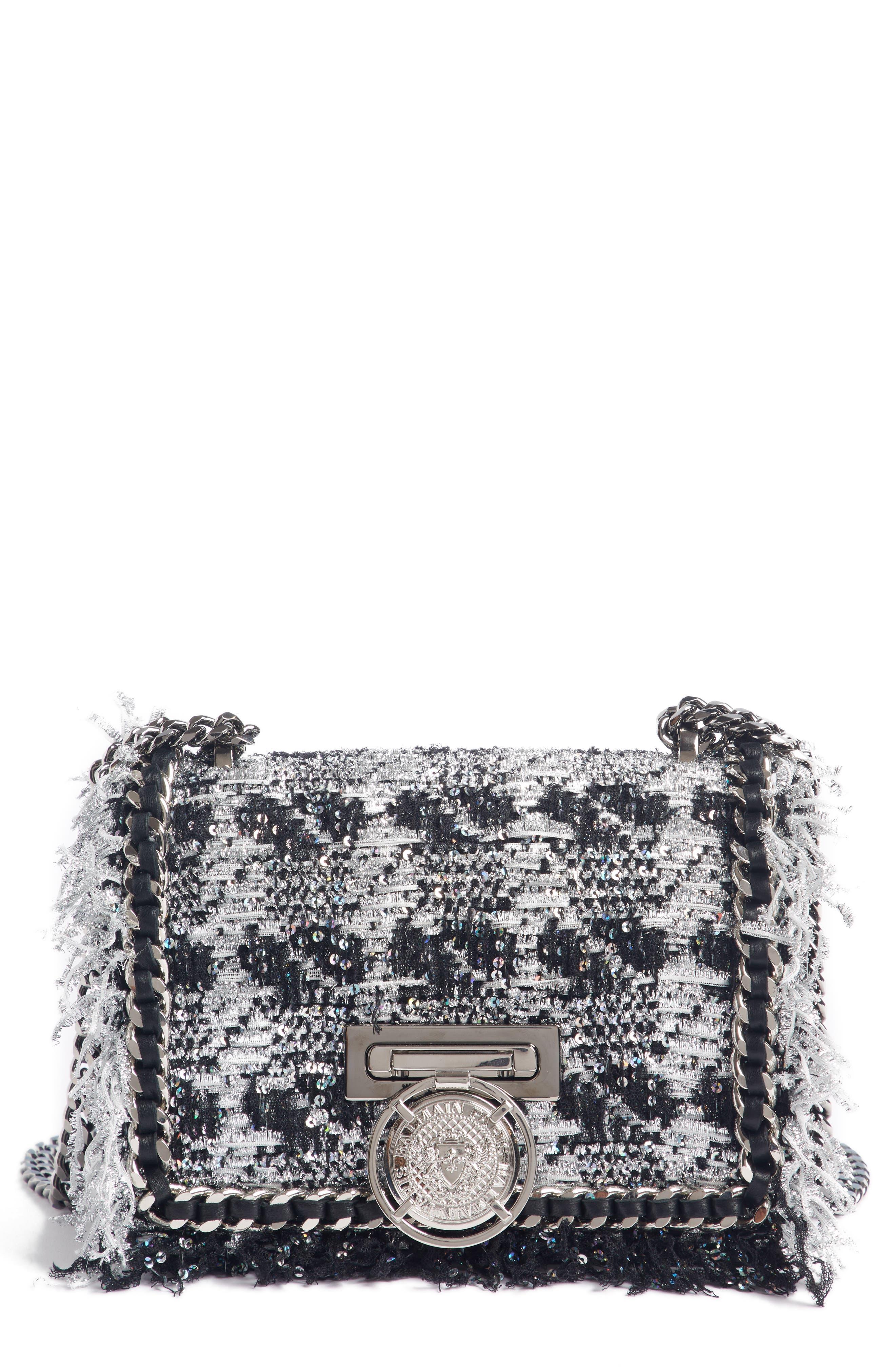 Metallic Tweed & Leather Box Shoulder Bag,                         Main,                         color, NOIR/ ARGENT