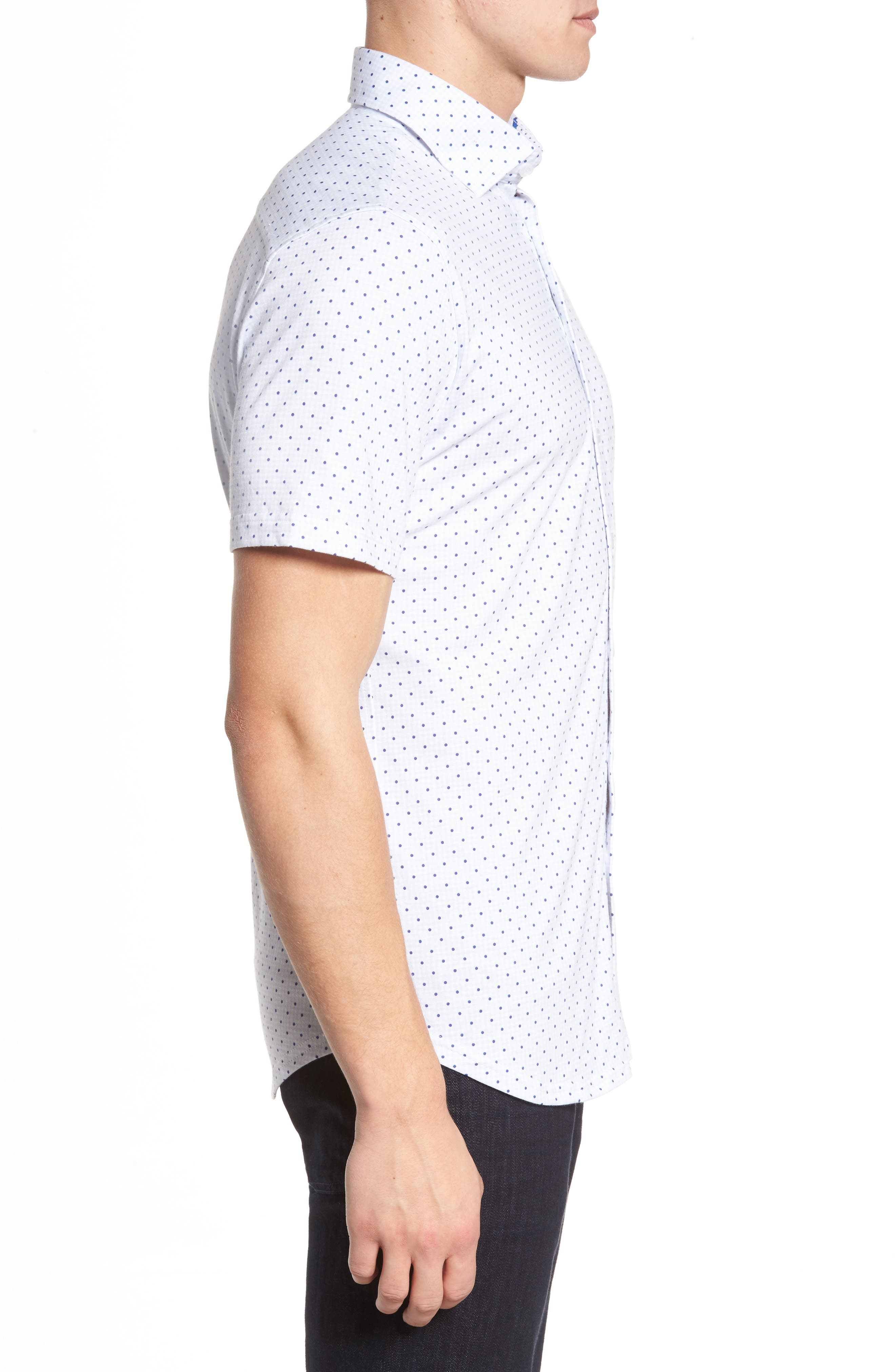 Trim Fit Polka Dot Check Sport Shirt,                             Alternate thumbnail 3, color,                             020