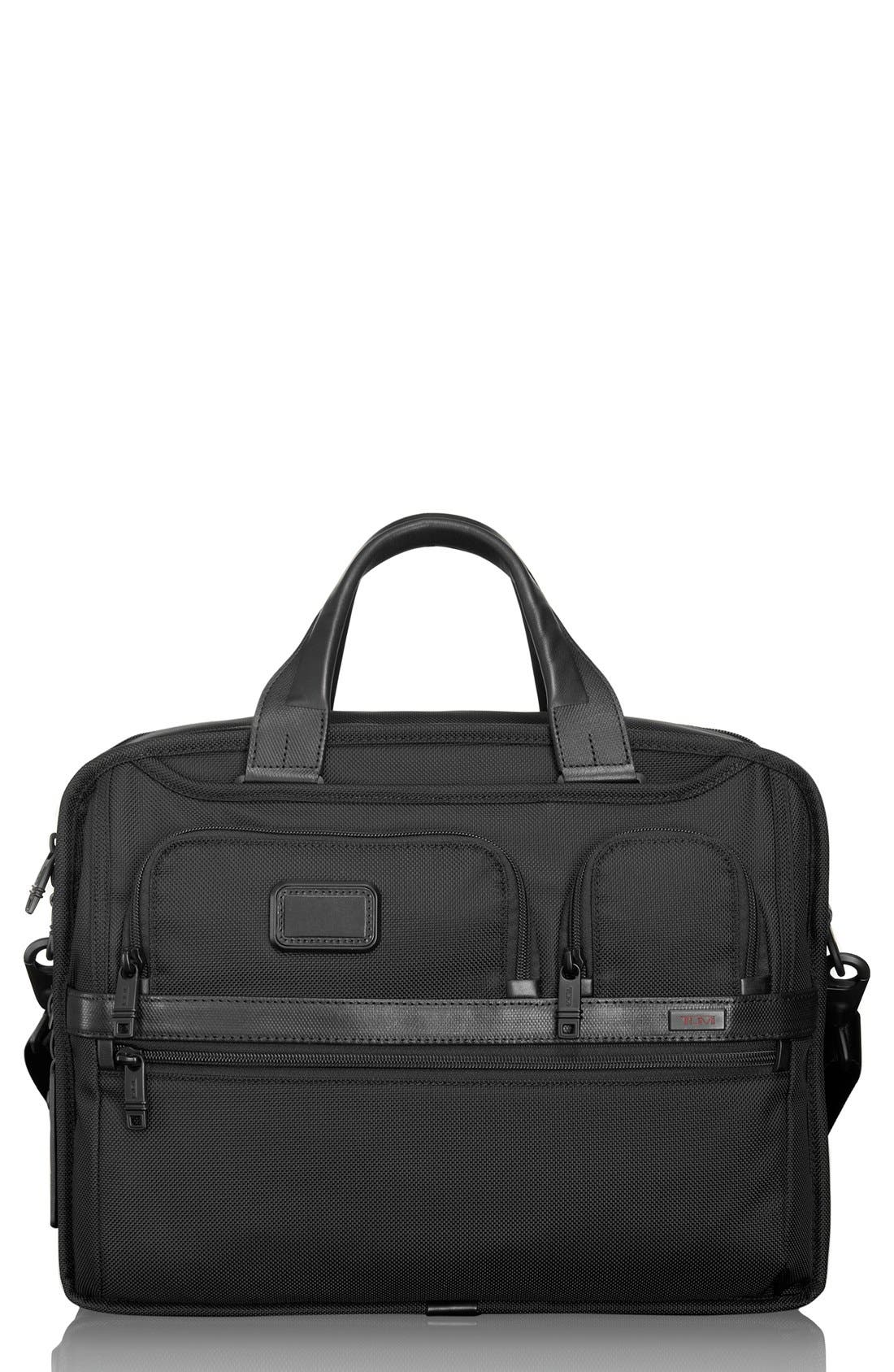 Alpha 2 Expandable Laptop Briefcase,                         Main,                         color, BLACK