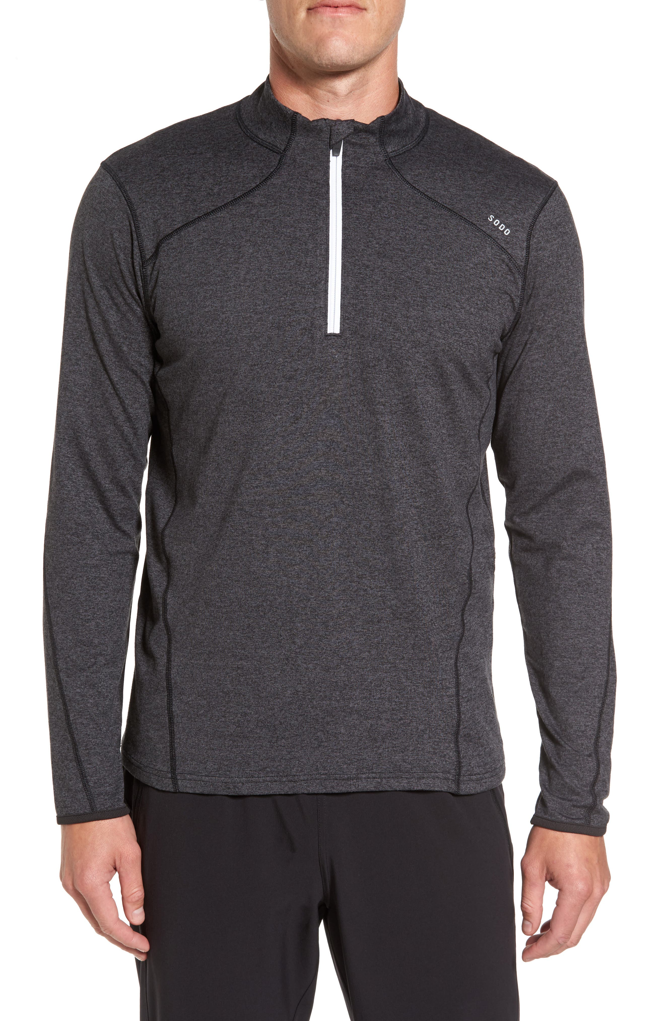 'Elevate' Moisture Wicking Stretch Quarter Zip Pullover,                         Main,                         color, 001