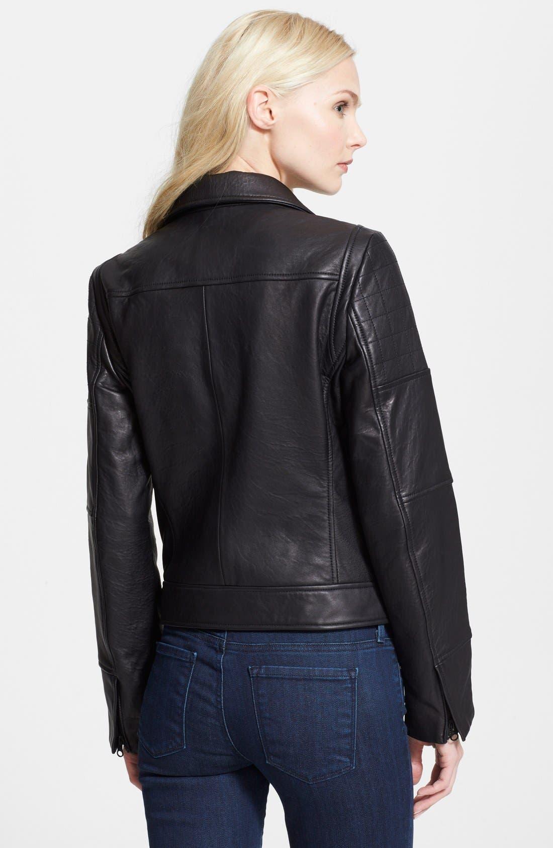 'RPM' Leather Moto Jacket,                             Alternate thumbnail 3, color,                             001