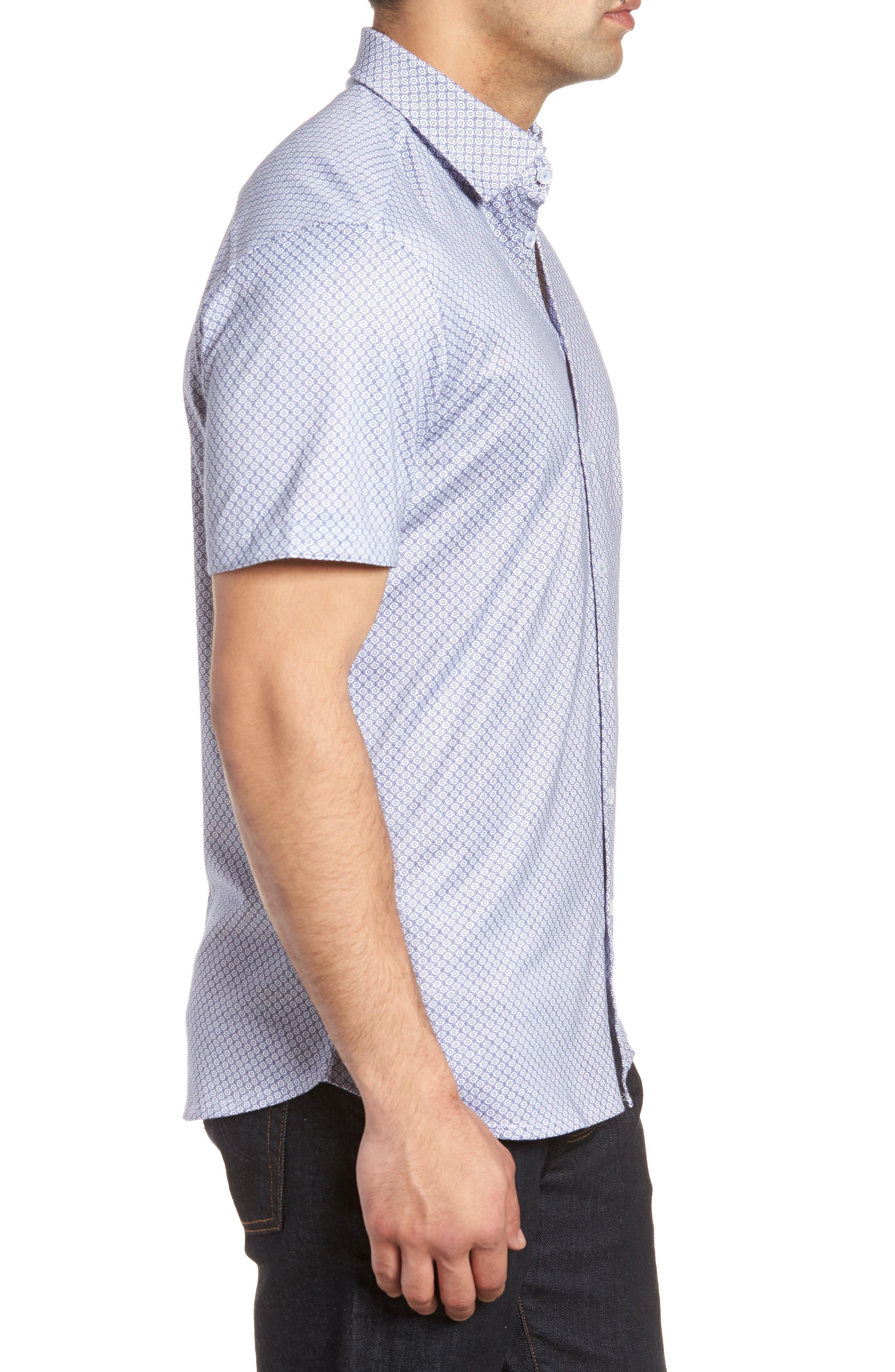 Contemporary Fit Geo Tech Sport Shirt,                             Alternate thumbnail 3, color,                             WHITE