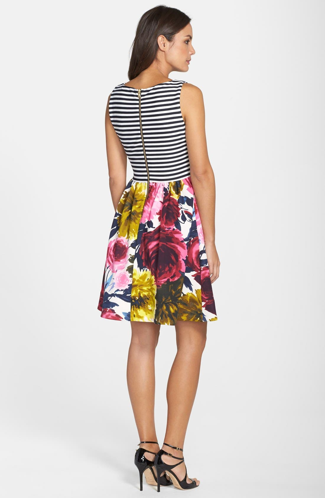 Mixed Print Fit & Flare Dress,                             Alternate thumbnail 4, color,                             410