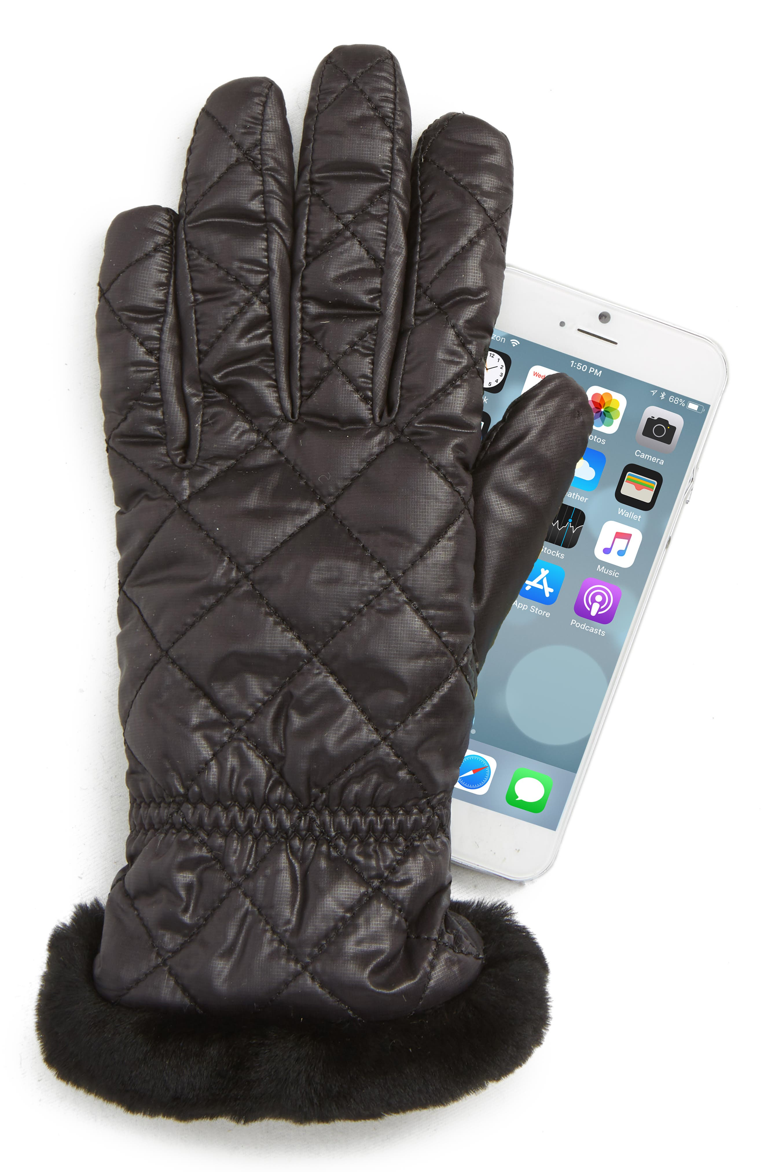 All Weather Touchscreen Compatible Quilted Gloves with Genuine Shearling Trim,                             Alternate thumbnail 2, color,                             BLACK