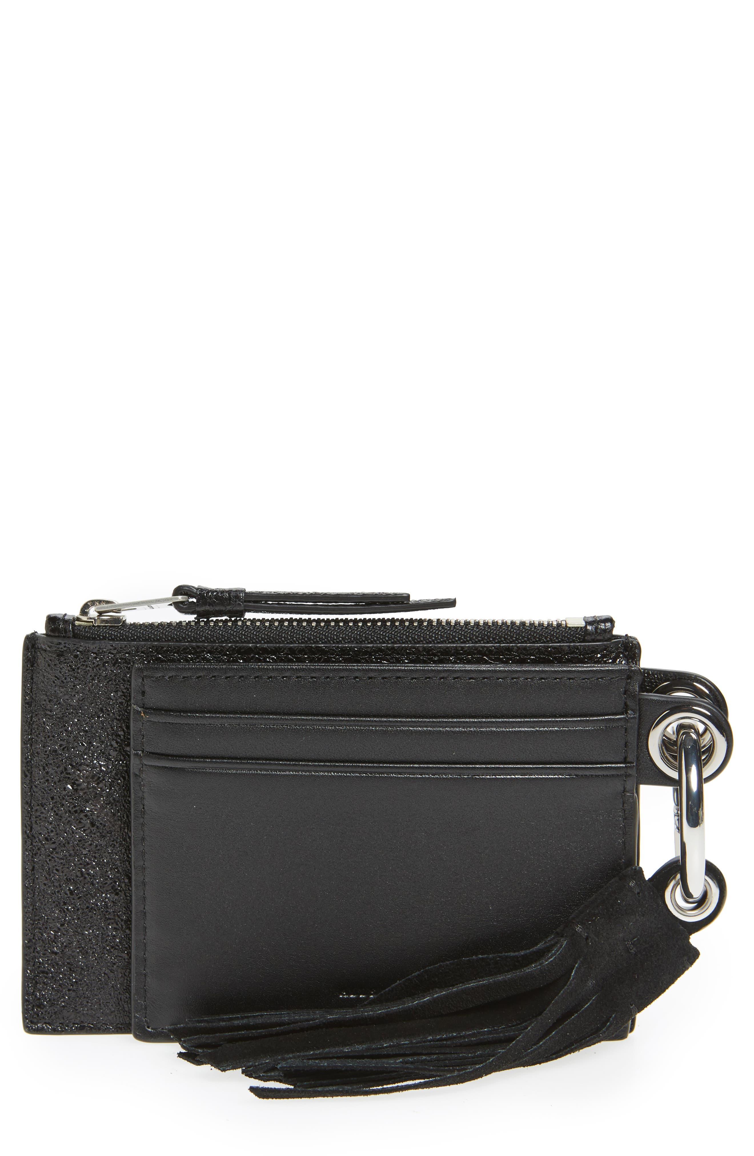 Dive Key Fob Leather Zip Pouch & Card Case,                             Main thumbnail 1, color,