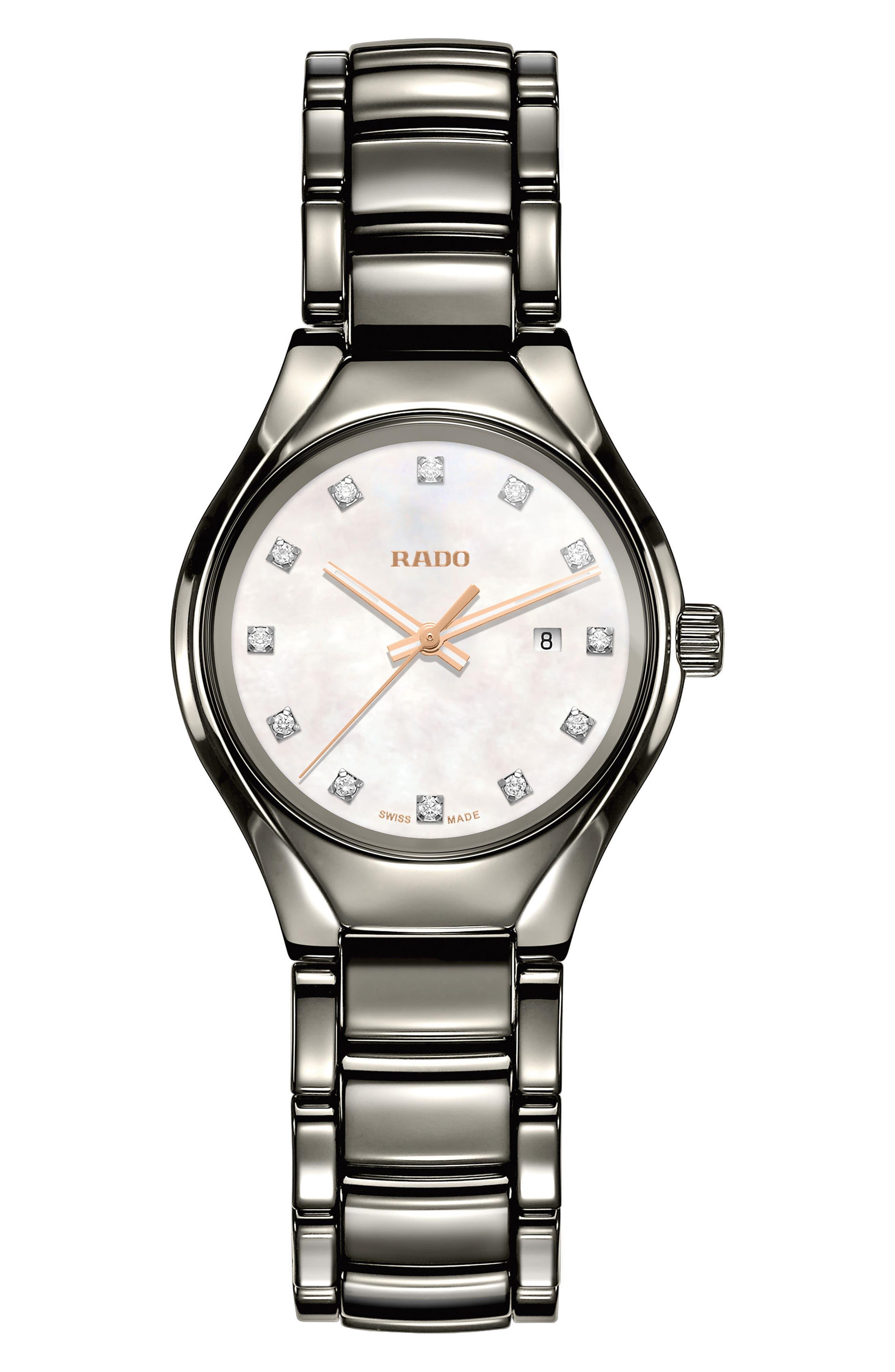 True Diamond Marker Ceramic Bracelet Watch, 30mm,                             Main thumbnail 1, color,                             PLASMA/ MOP/ PLASMA